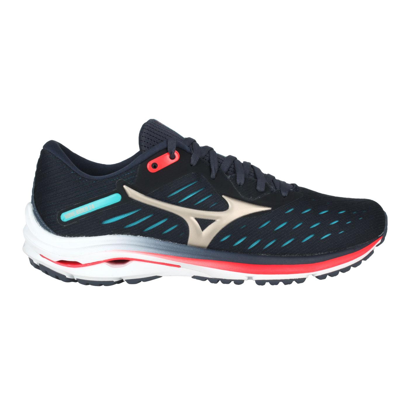 MIZUNO 男慢跑鞋  @WAVE RIDER 24@J1GC200342 - 藍香檳金