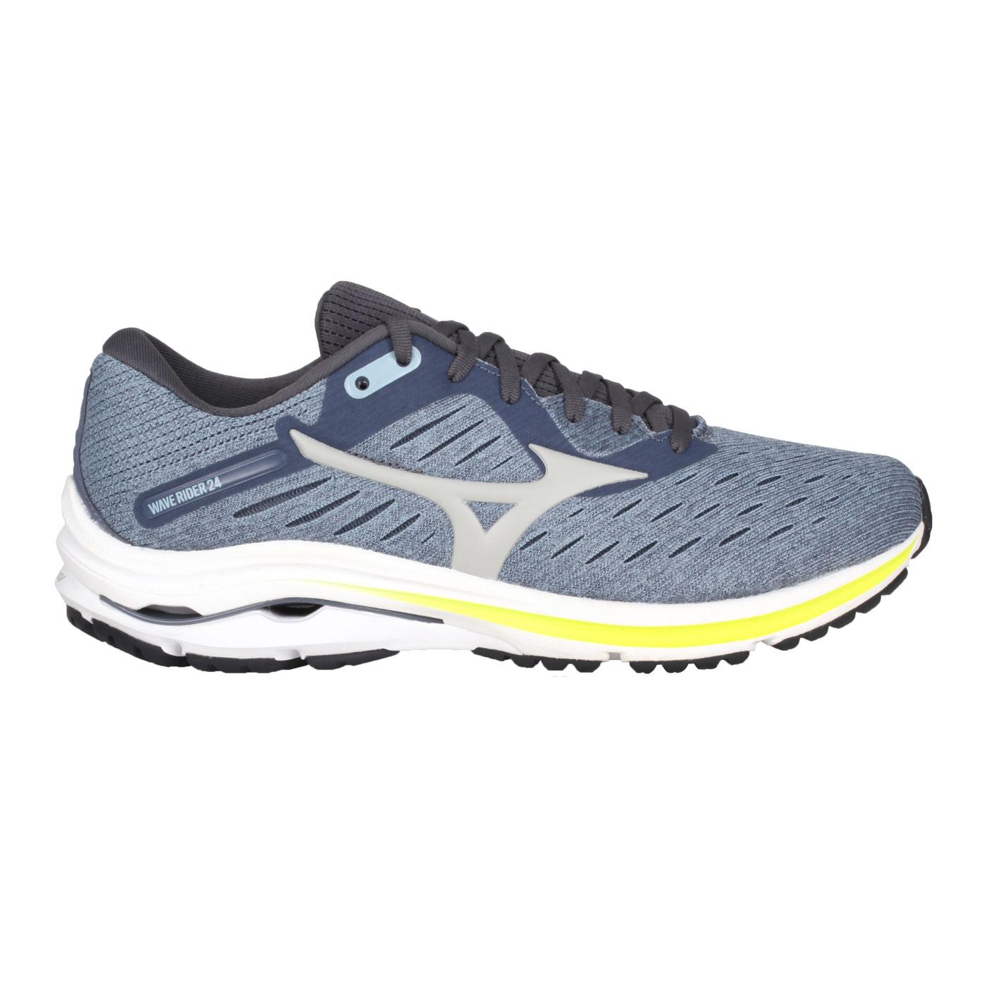 MIZUNO 男款慢跑鞋 J1GC200455 - 藍灰螢光黃