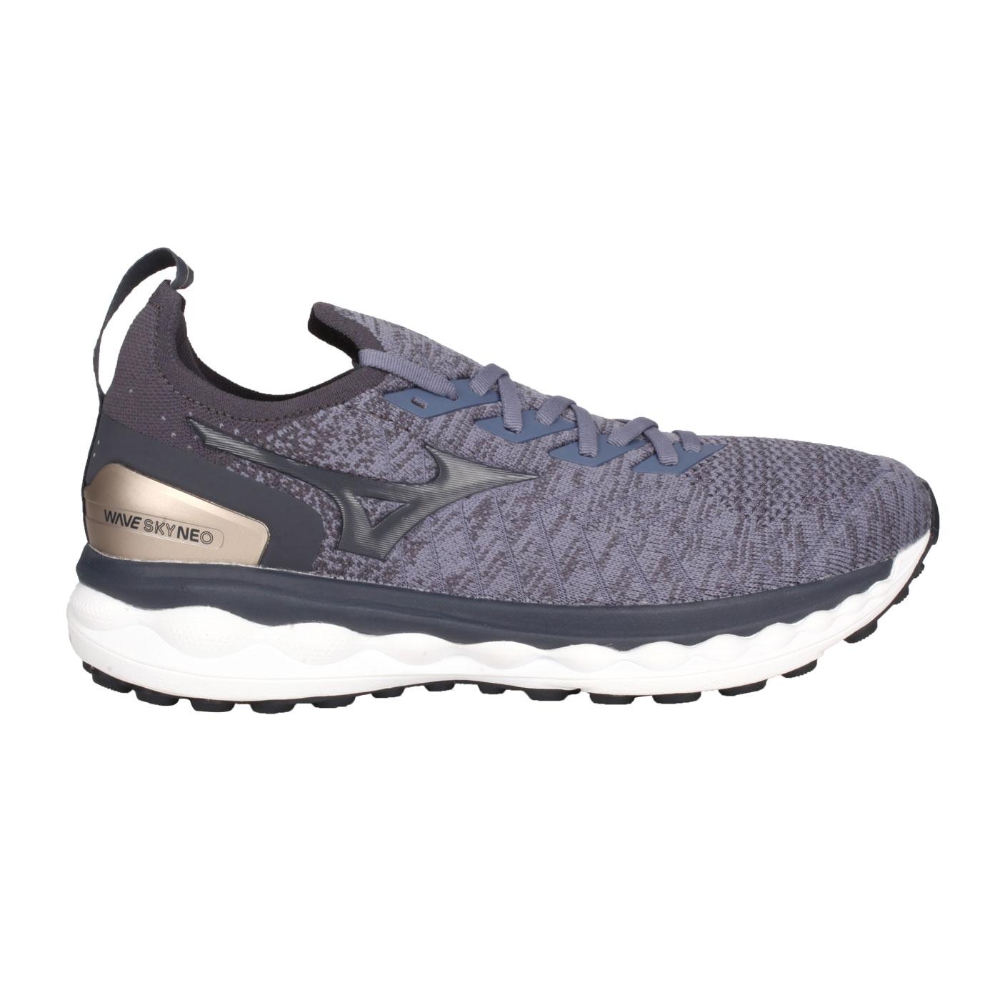 MIZUNO 男款慢跑鞋  @WAVE SKY NEO@J1GC203434 - 灰紫黑金