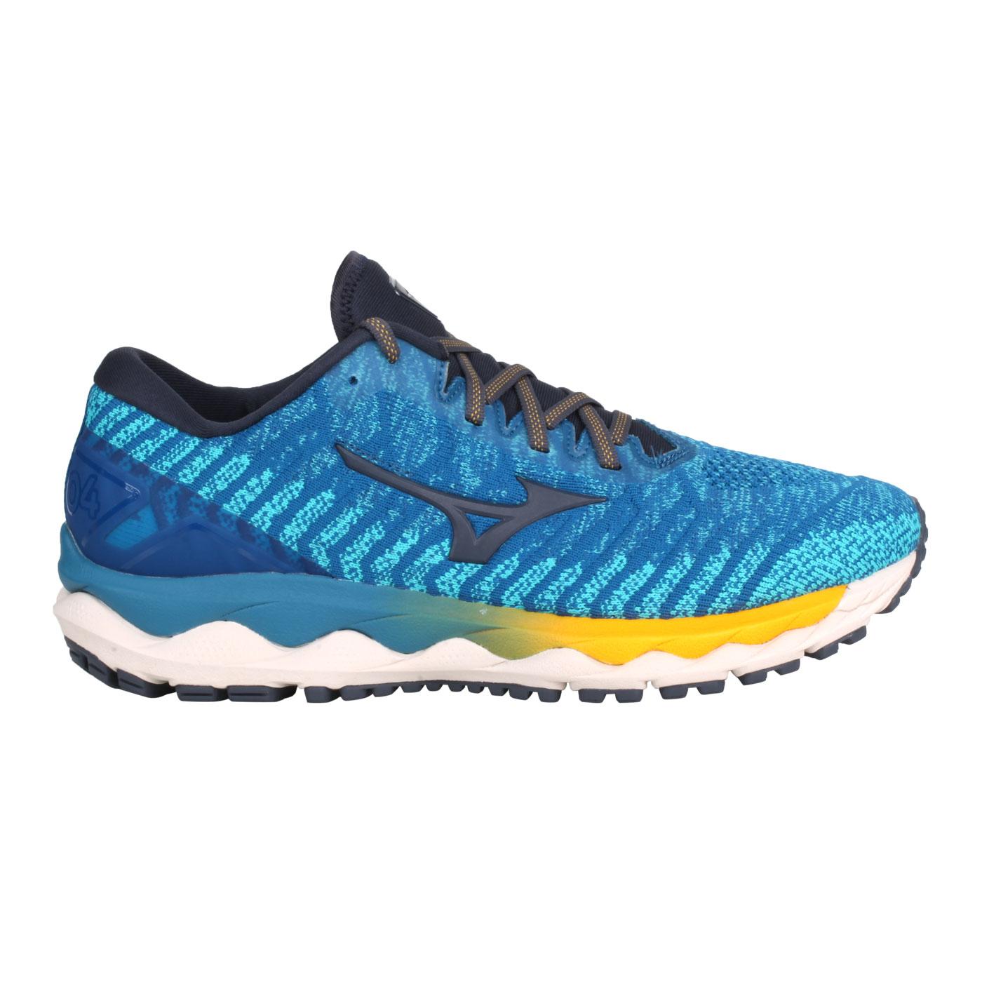 MIZUNO 男款慢跑鞋-4E  @WAVE SKY 4 WAVEKNIT SW@J1GC203930 - 藍水藍黃
