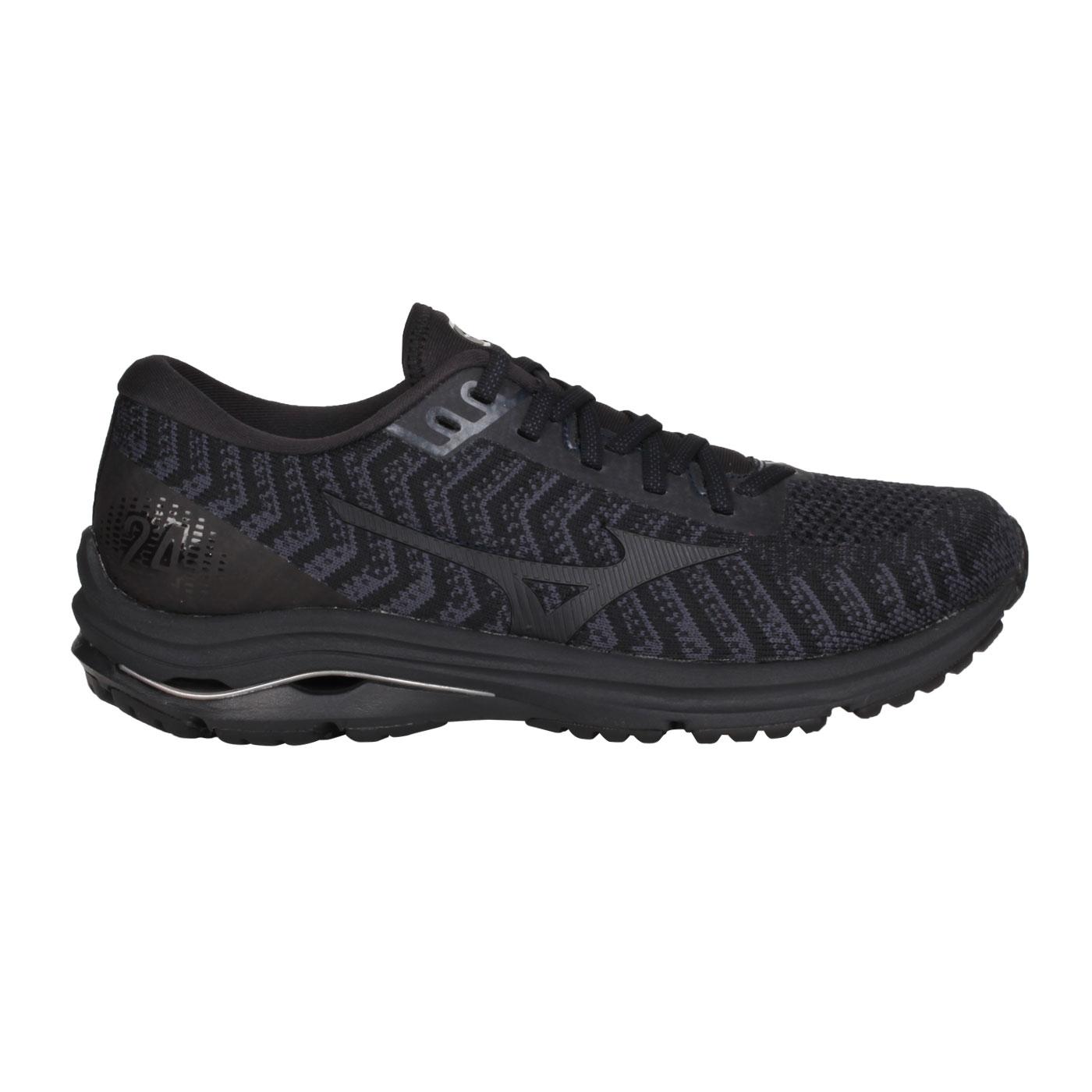 MIZUNO 男款慢跑鞋  @WAVE RIDER 24 WAVEKNIT@J1GC207509 - 黑淺藍