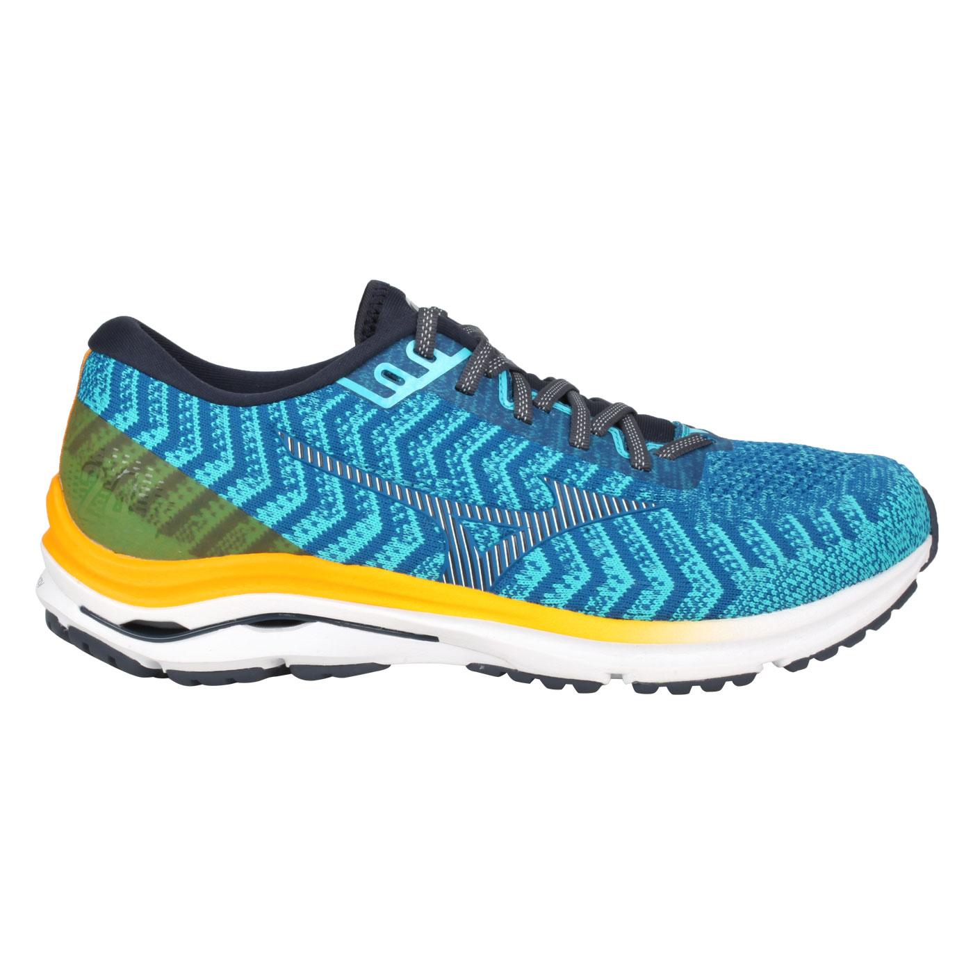 MIZUNO 男款慢跑鞋-4E  @WAVE RIDER 24 WAVEKNIT SW@J1GC207630 - 藍黃