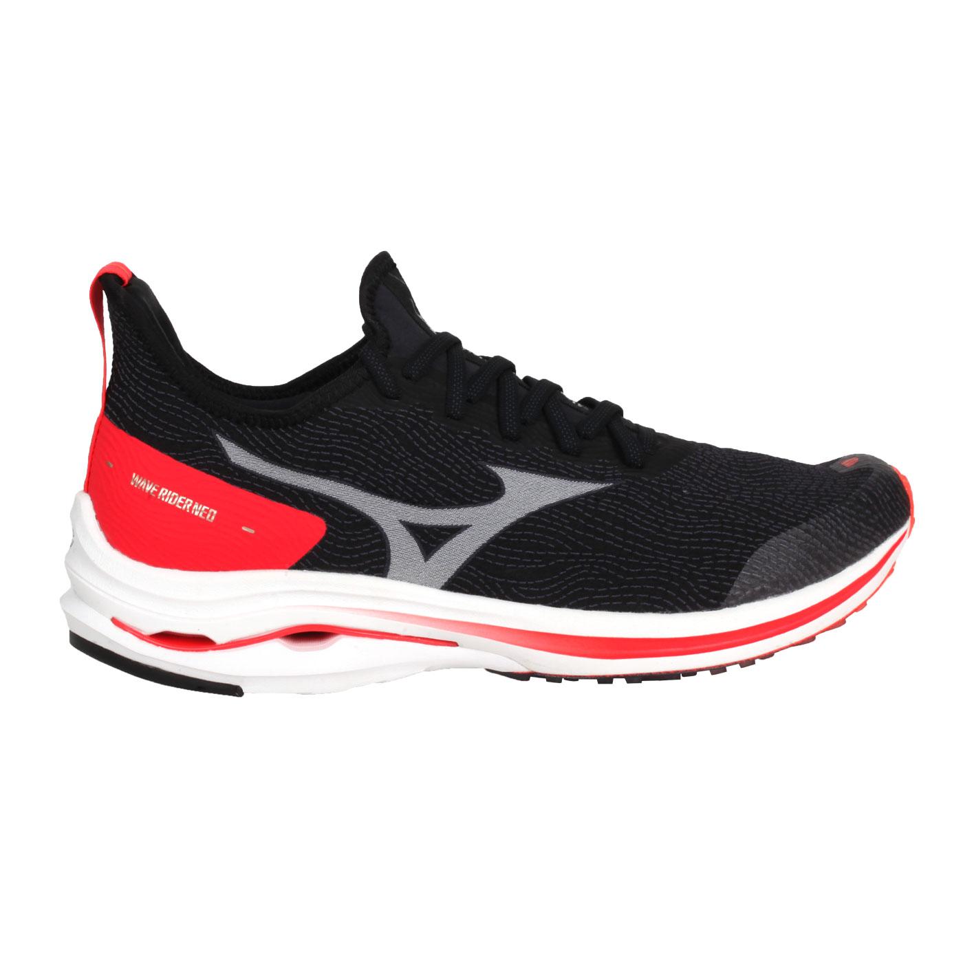 MIZUNO 男款慢跑鞋  @WAVE RIDER NEO@J1GC207802 - 黑白紅金