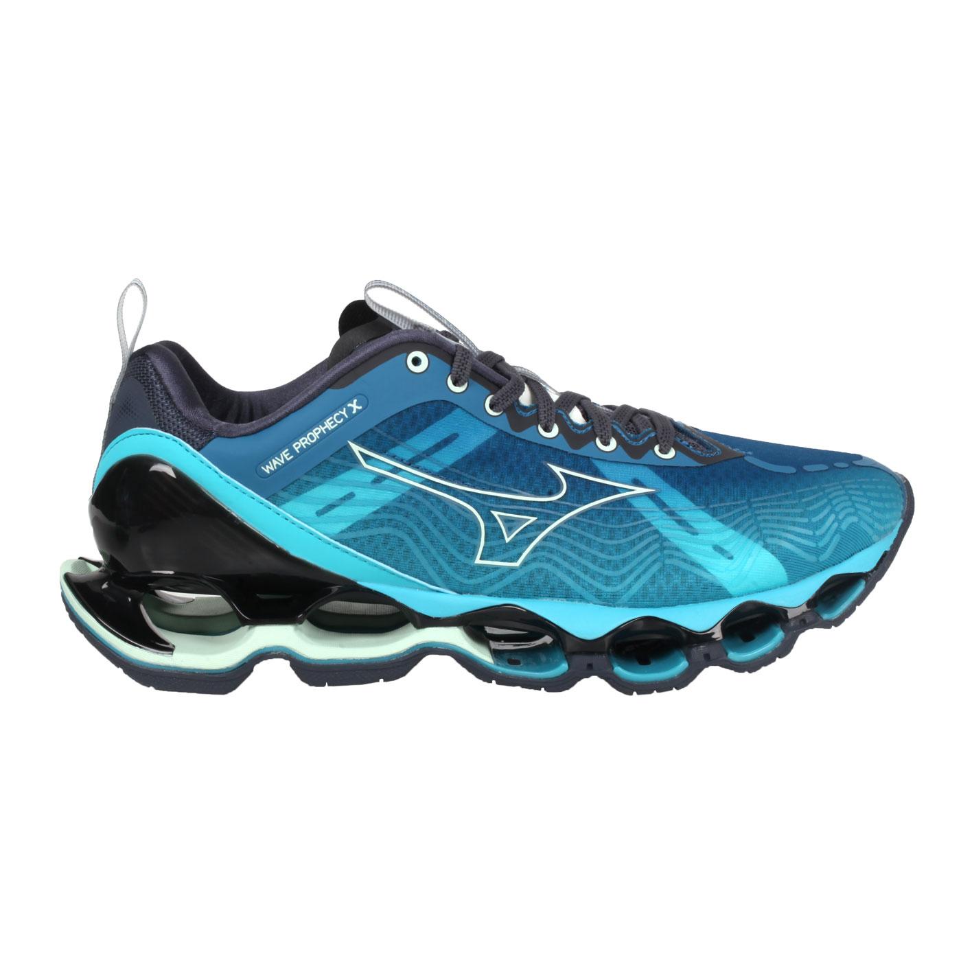 MIZUNO 男款慢跑鞋  @WAVE PROPHECY X@J1GC210009 - 藍綠黑