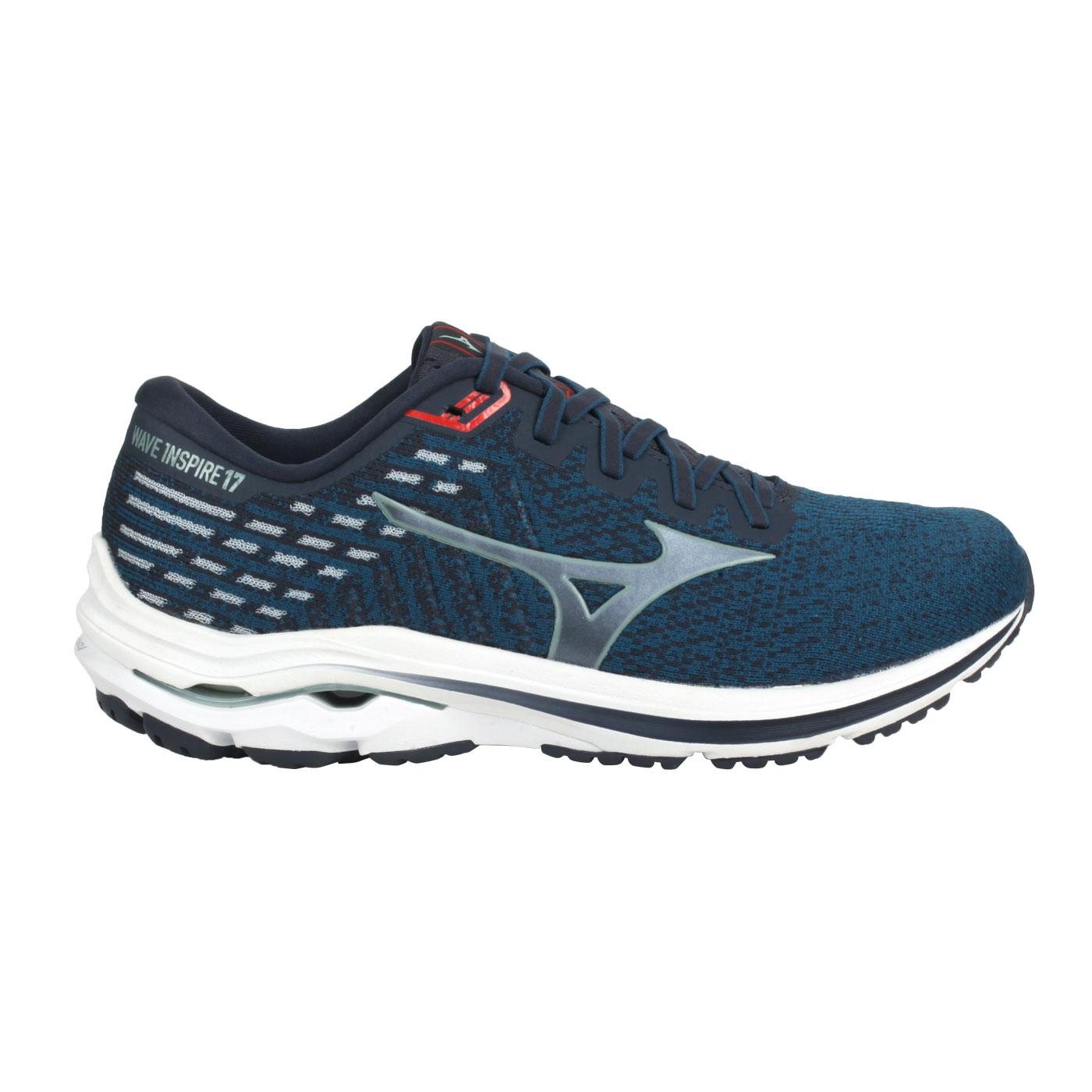 MIZUNO 男款慢跑鞋-4E  @WAVE INSPIRE 17 WAVEKNIT SW@J1GC212260 - 藍綠銀