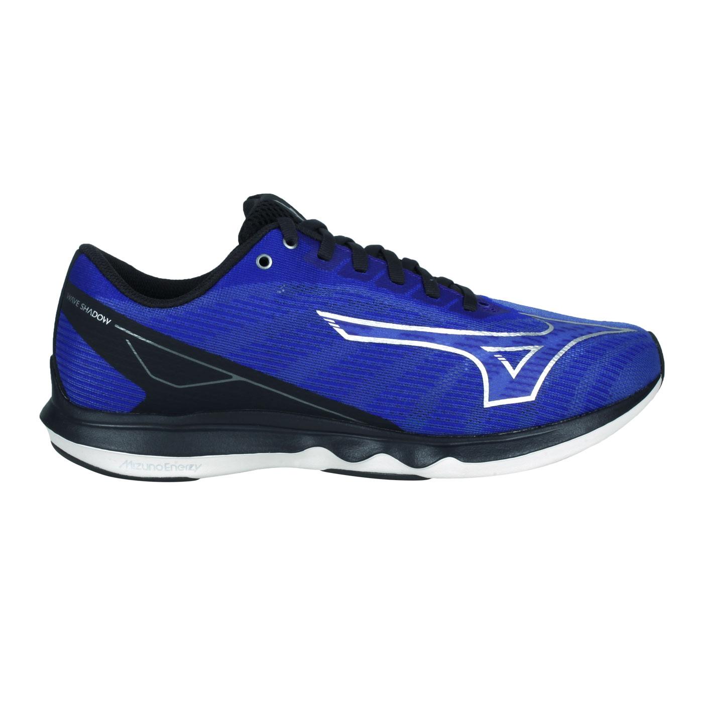 MIZUNO 男款慢跑鞋-WIDE  @WAVE SHADOW 5 WIDE@J1GC212705 - 藍黑銀