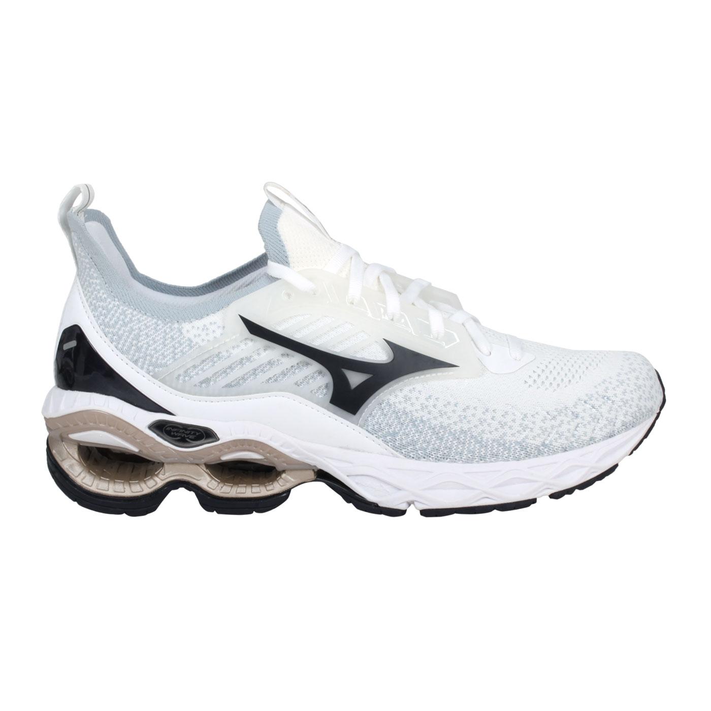 MIZUNO 男款慢跑鞋  @WAVE CREATION 22 WAVEKNIT@J1GC213390 - 白黑金