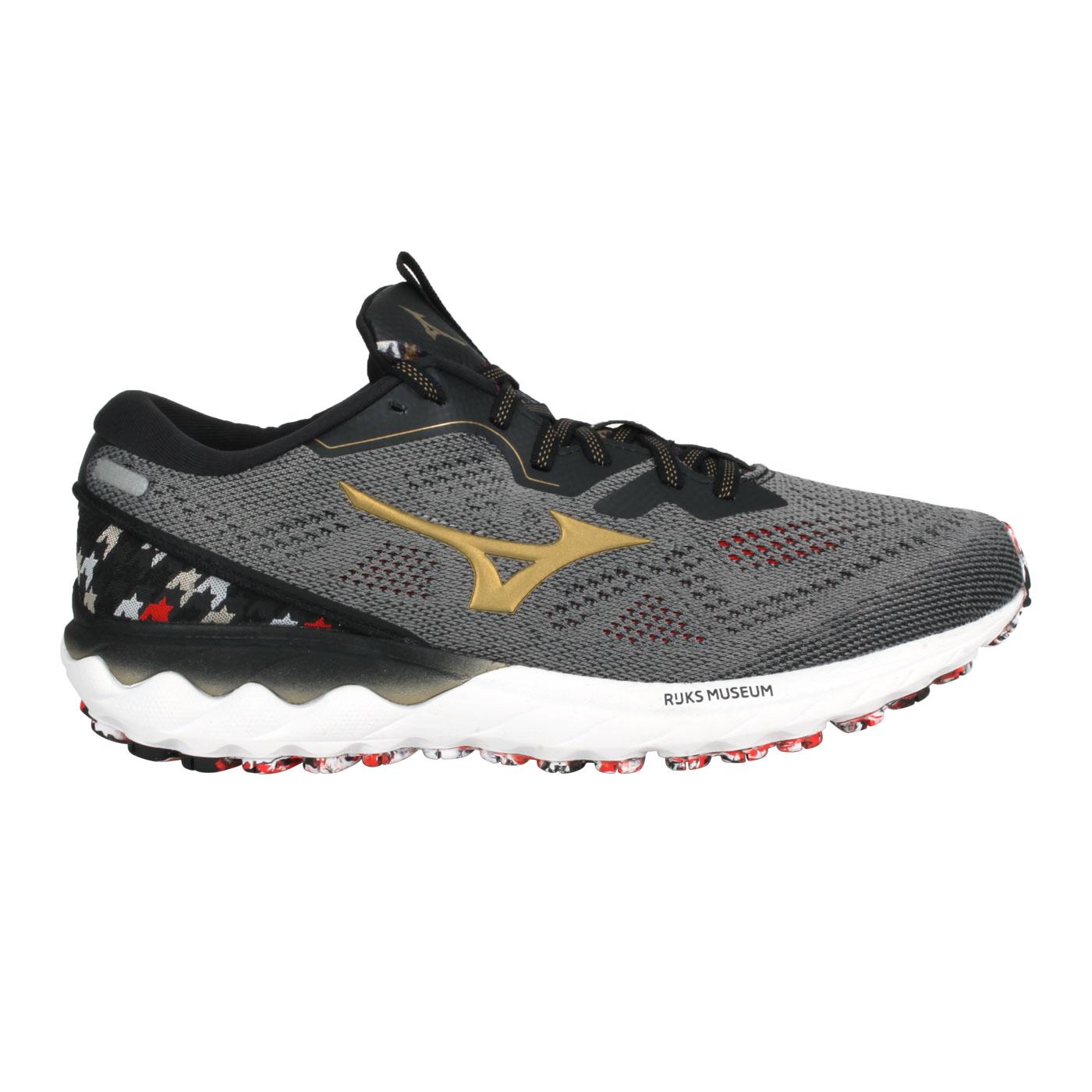 MIZUNO 男款慢跑鞋  @WAVE SKYRISE 2@J1GC216297 - 灰金紅