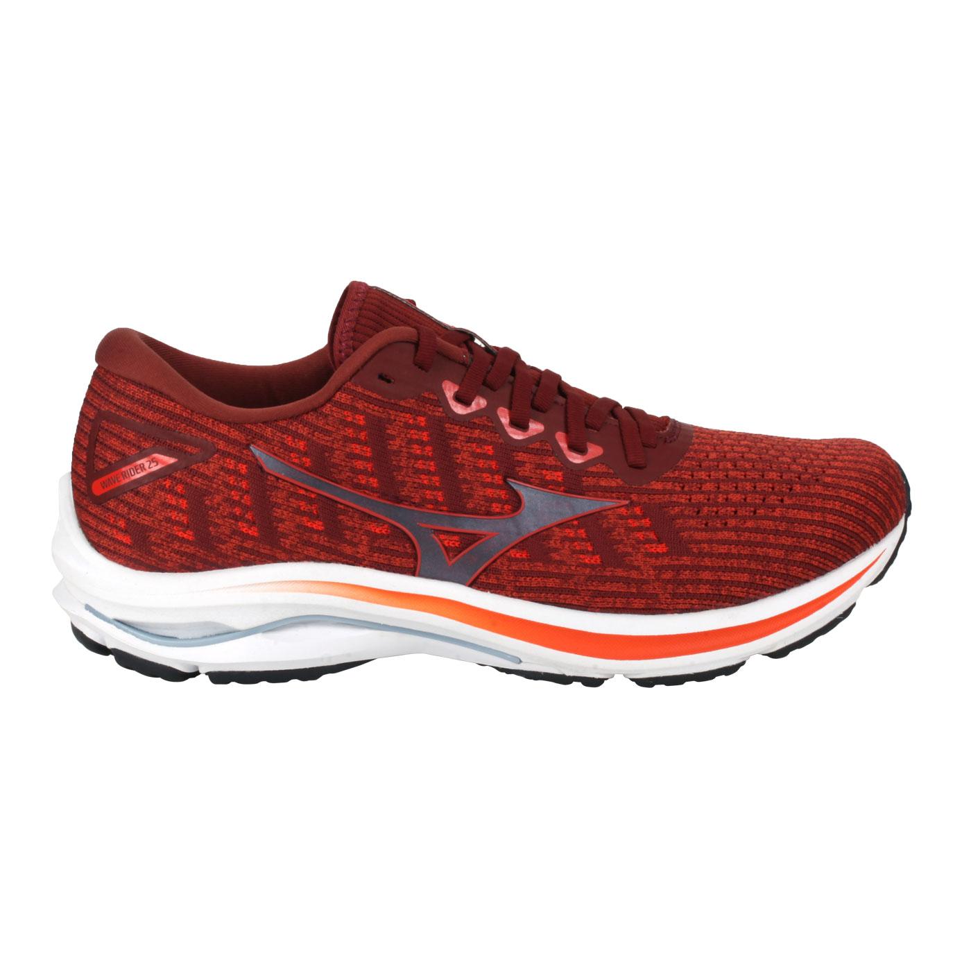 MIZUNO 特定-男款慢跑鞋-4E  @WAVE RIDER 25 WAVEKNIT SW@J1GC217677 - 磚瓦紅橘
