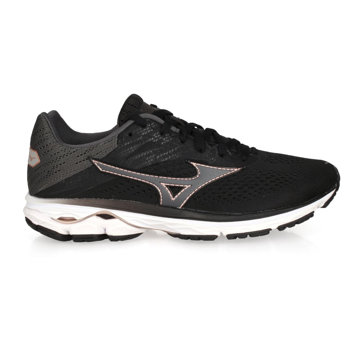 MIZUNO 女款慢跑鞋  @WAVE RIDER 23@J1GD190330 - 黑灰玫瑰金