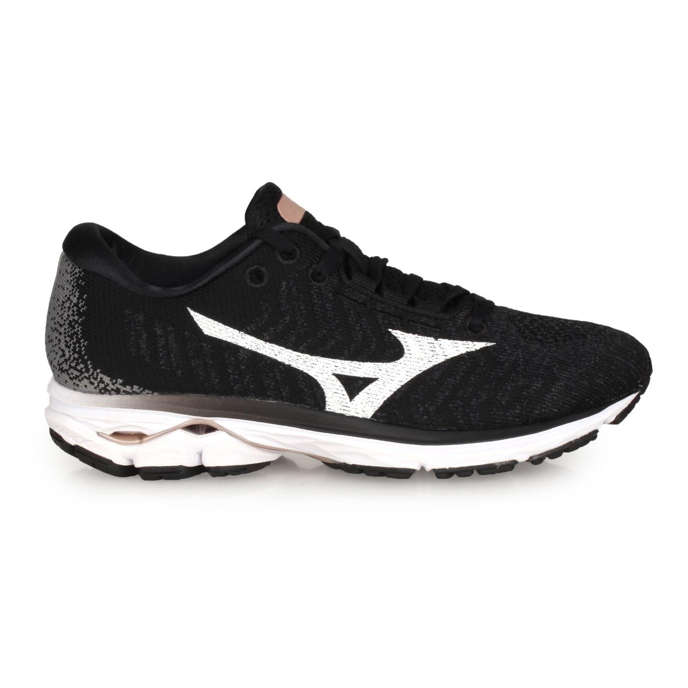 MIZUNO 女款慢跑鞋  @WAVE RIDER WAVEKNIT 3@J1GD192902 - 黑白灰