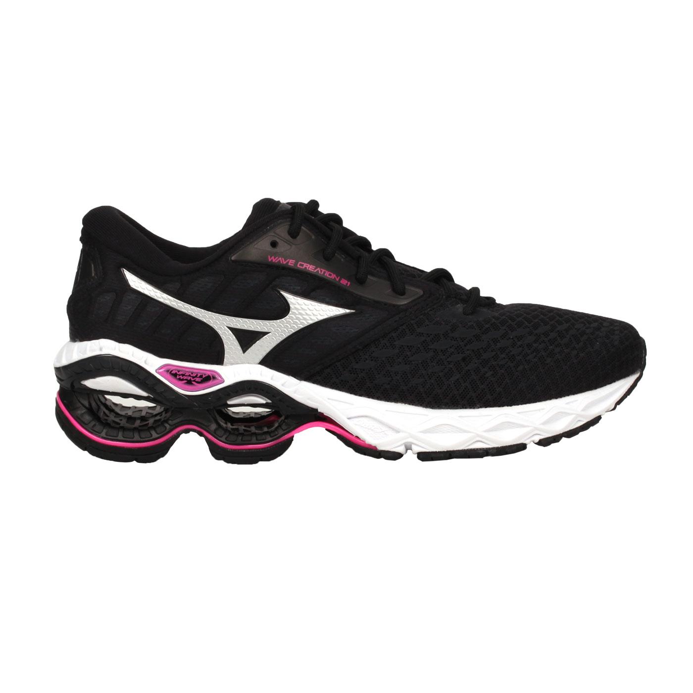 MIZUNO 女款慢跑鞋  @WAVE CREATION 21@J1GD200116 - 黑銀桃紅