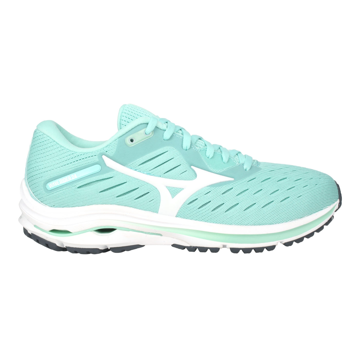 MIZUNO 女款慢跑鞋  @WAVE RIDER 24@J1GD200301 - 湖水綠白