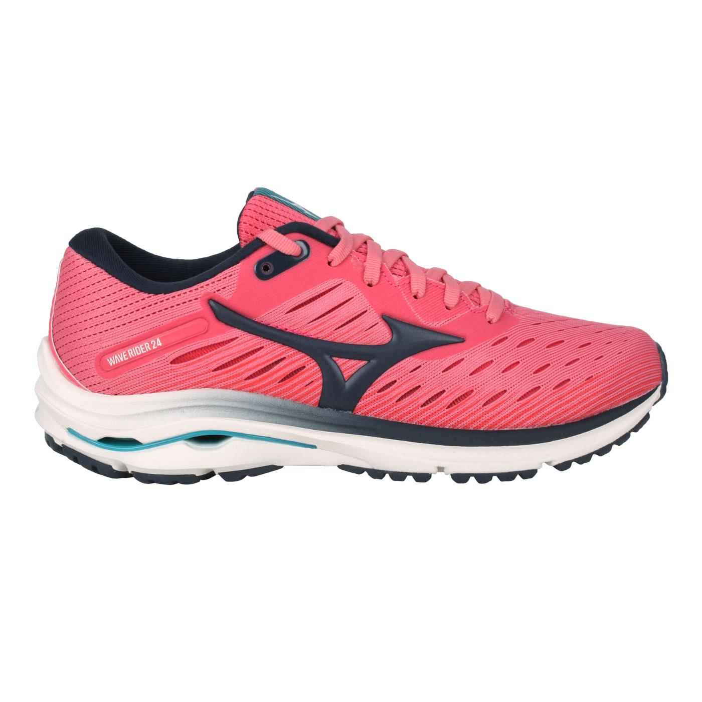 MIZUNO 女款慢跑鞋  @WAVE RIDER 24@J1GD200330 - 粉紅黑