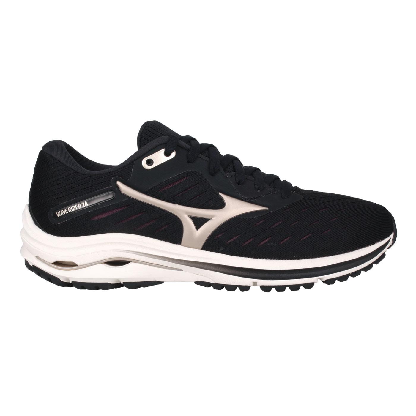 MIZUNO 女款慢跑鞋  @WAVE RIDER 24@J1GD200342 - 黑香檳金