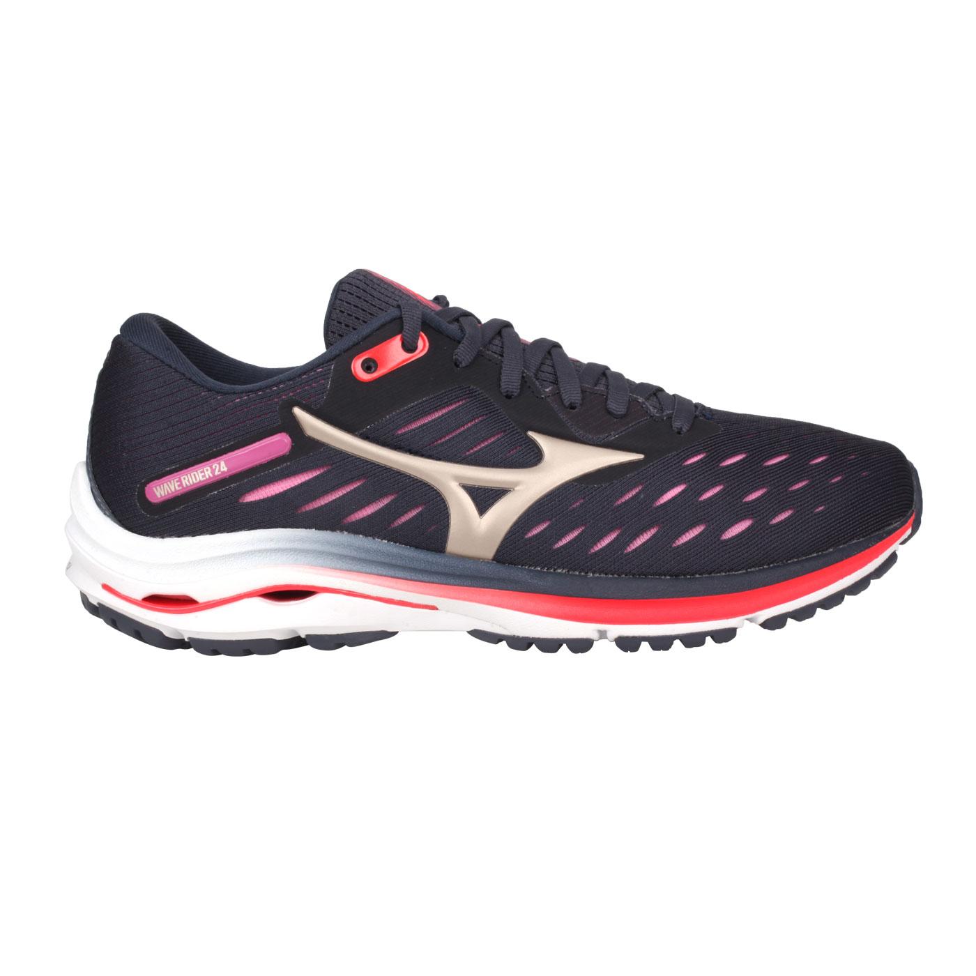 MIZUNO 女款慢跑鞋  @WAVE RIDER 24@J1GD200343 - 灰粉橘