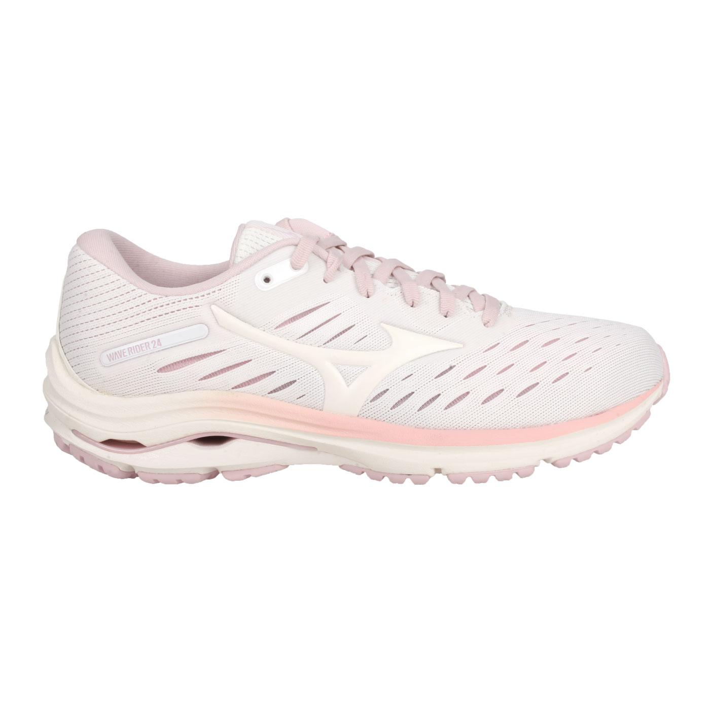 MIZUNO 女款慢跑鞋-WIDE  @WAVE RIDER 24 WIDE@J1GD200613 - 白藕粉紫橘