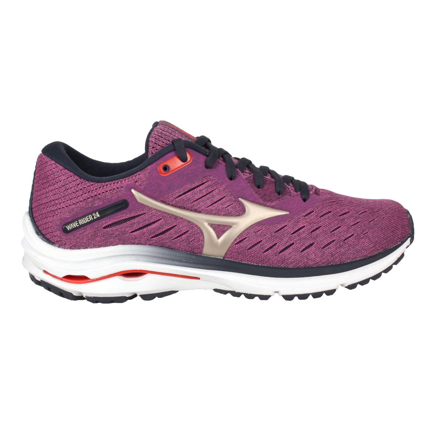 MIZUNO 女款慢跑鞋-WIDE  @WAVE RIDER 24 WIDE@J1GD200642 - 紫金