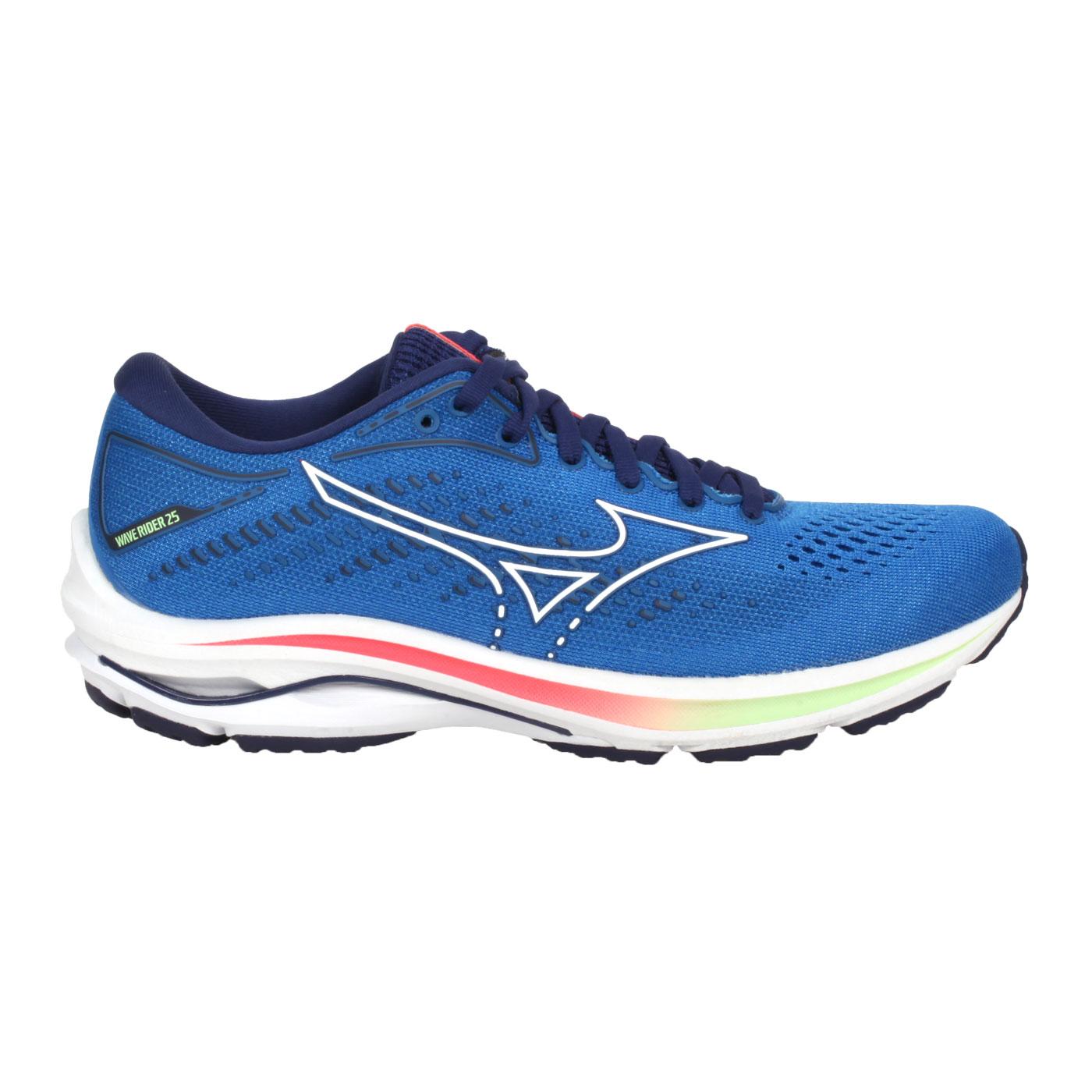 MIZUNO 女款慢跑鞋  @WAVE RIDER 25@J1GD210387 - 藍綠紅