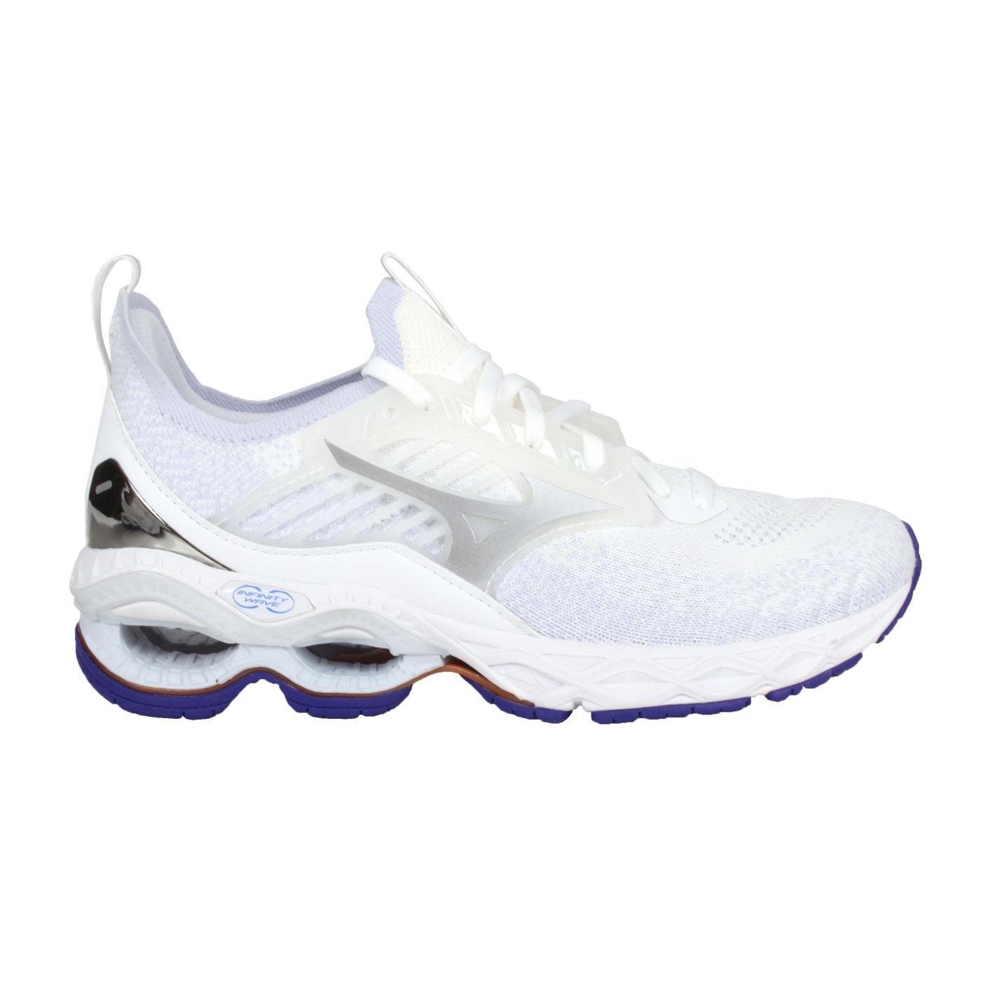 MIZUNO 女款慢跑鞋  @WAVE CREATION 22 WAVEKNIT@J1GD213367 - 白紫銀