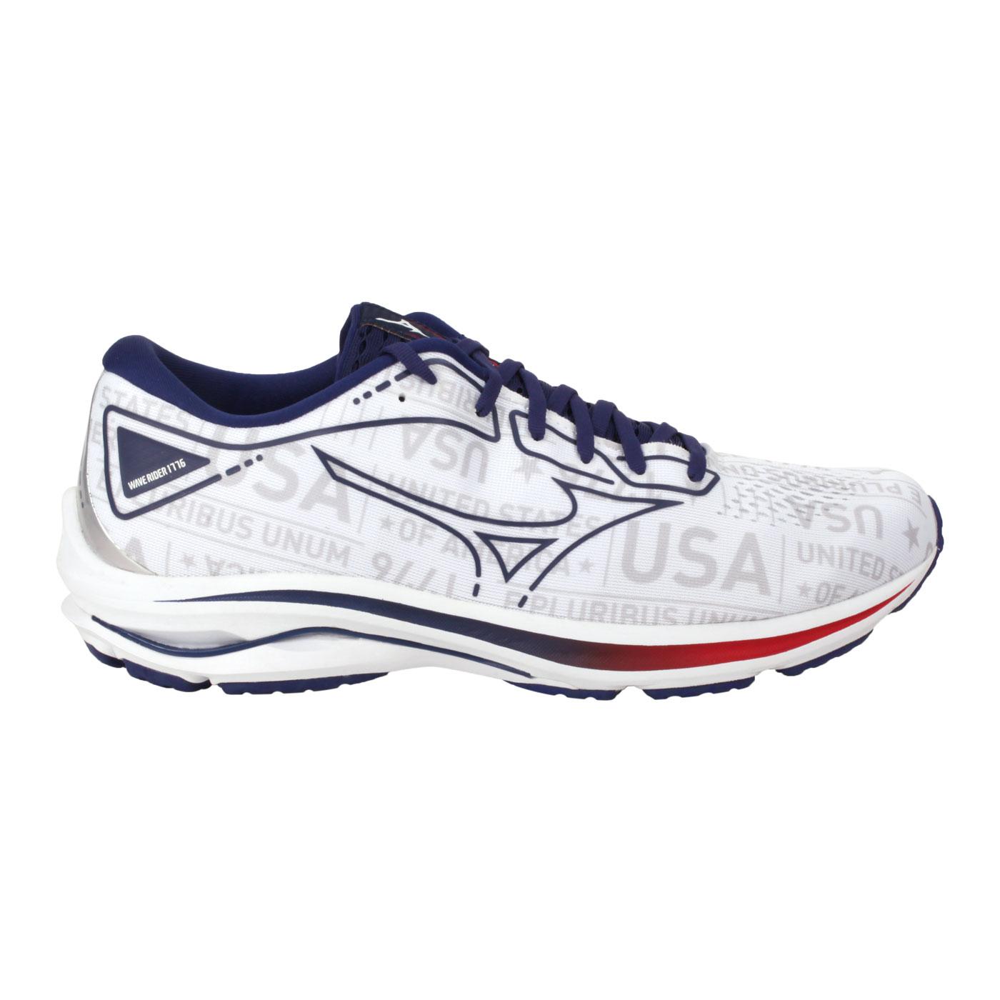 MIZUNO 特定-女款慢跑鞋  @WAVE RIDER 25@J1GD215219 - 白藍紅
