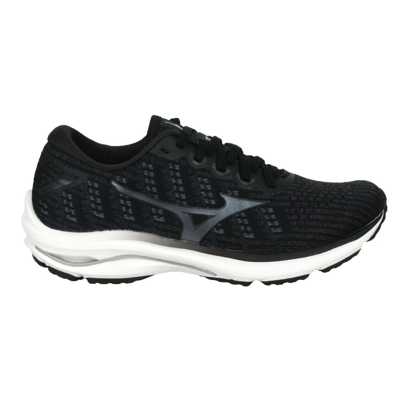 MIZUNO 女款慢跑鞋  @WAVE RIDER 25 WAVEKNIT@J1GD217590 - 黑灰