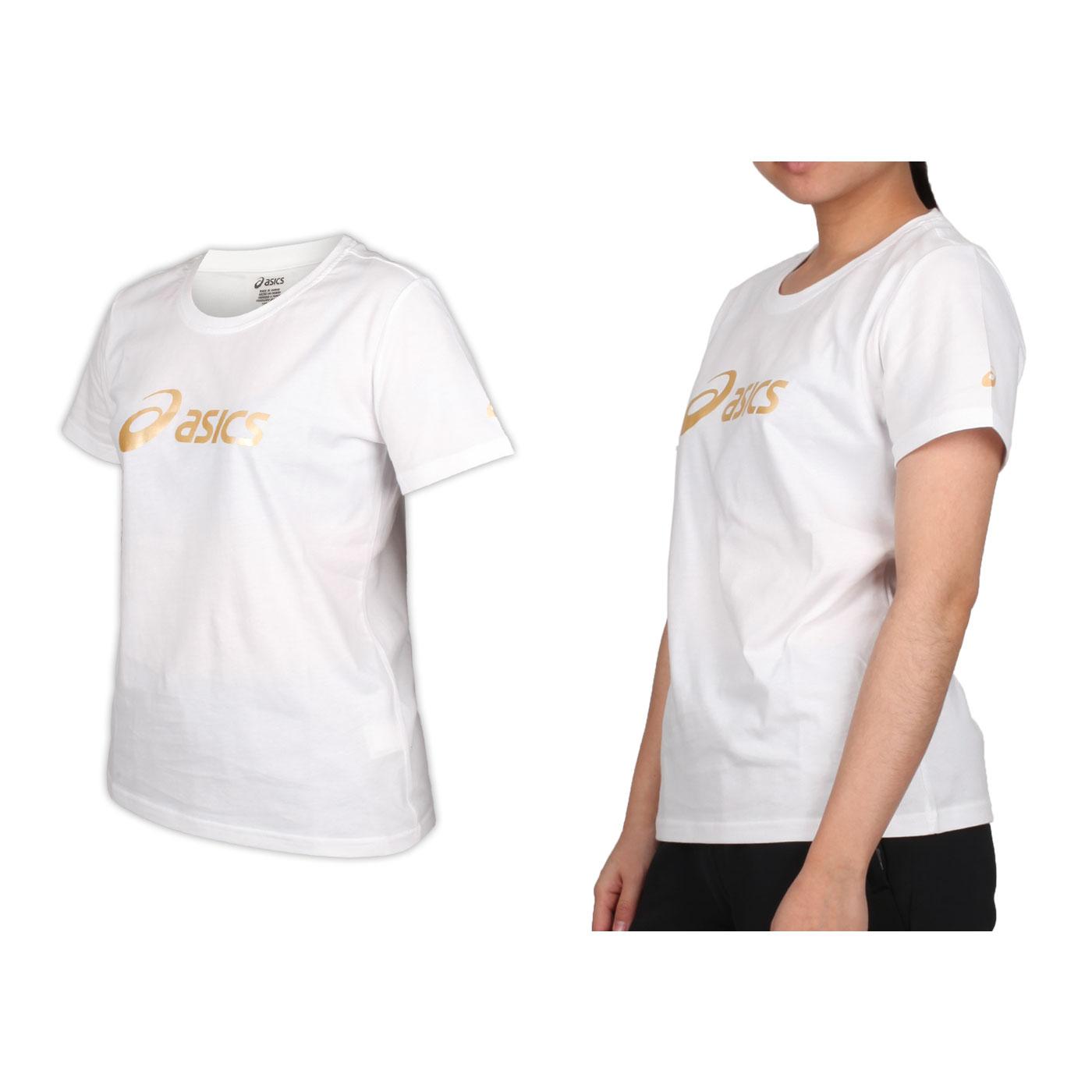 ASICS 女款短袖T恤 K12006-01 - 白香檳金