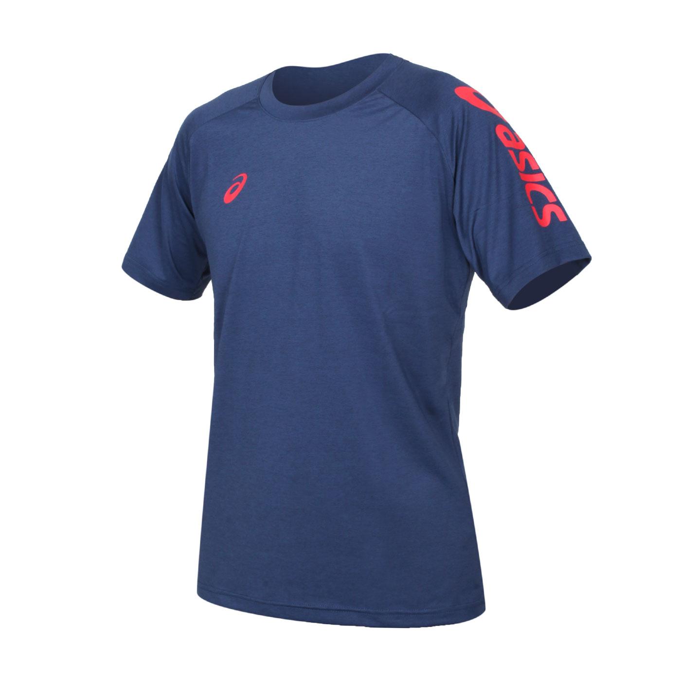 ASICS 男款短袖T恤 K12047-50 - 深藍紅