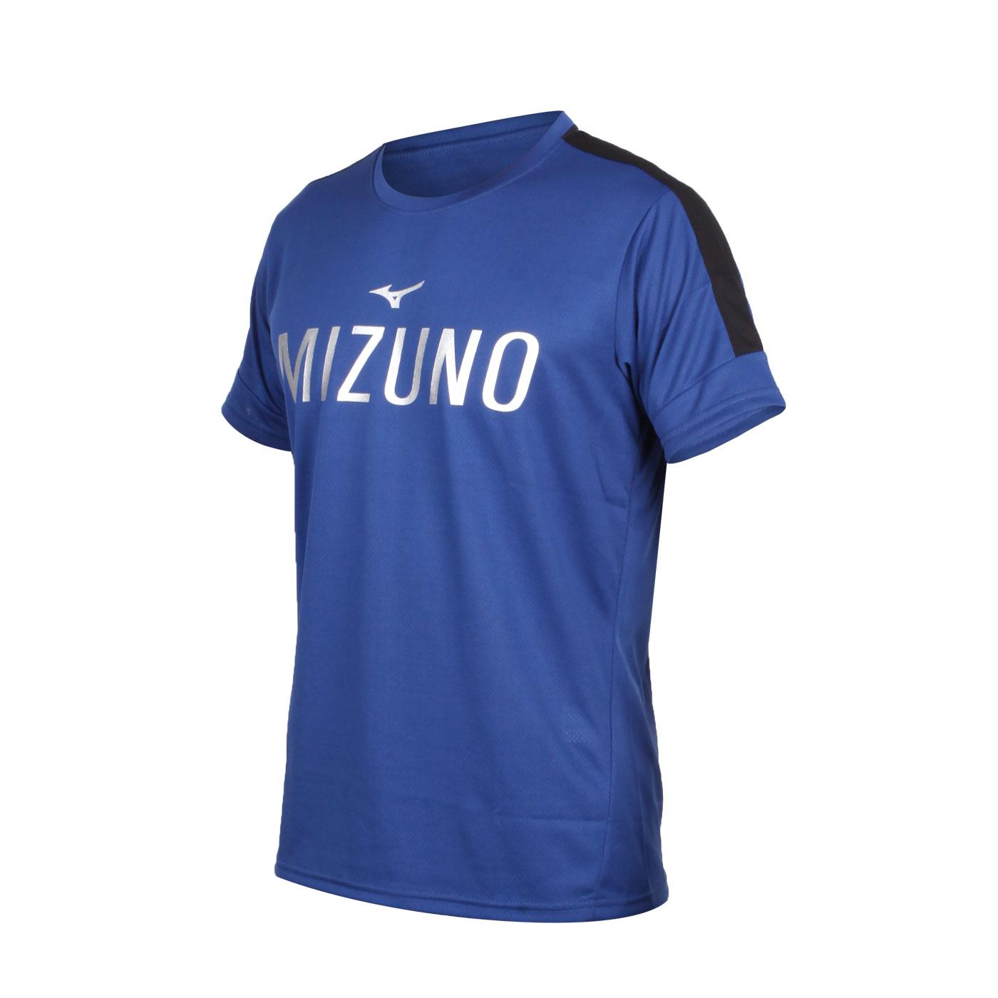 MIZUNO 男款短袖T恤 K2TA050201 - 丈青黑銀