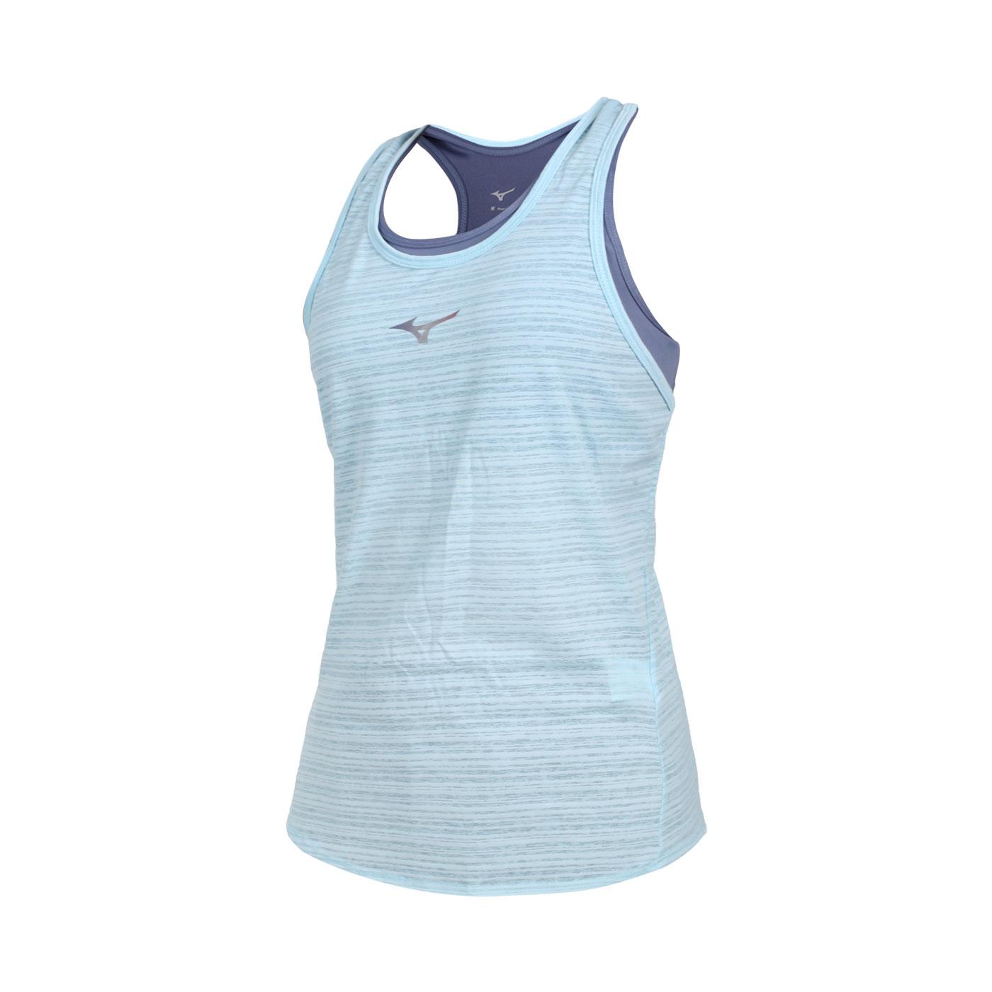 MIZUNO 女款兩件式瑜珈背心 K2TA120423 - 藍水藍銀