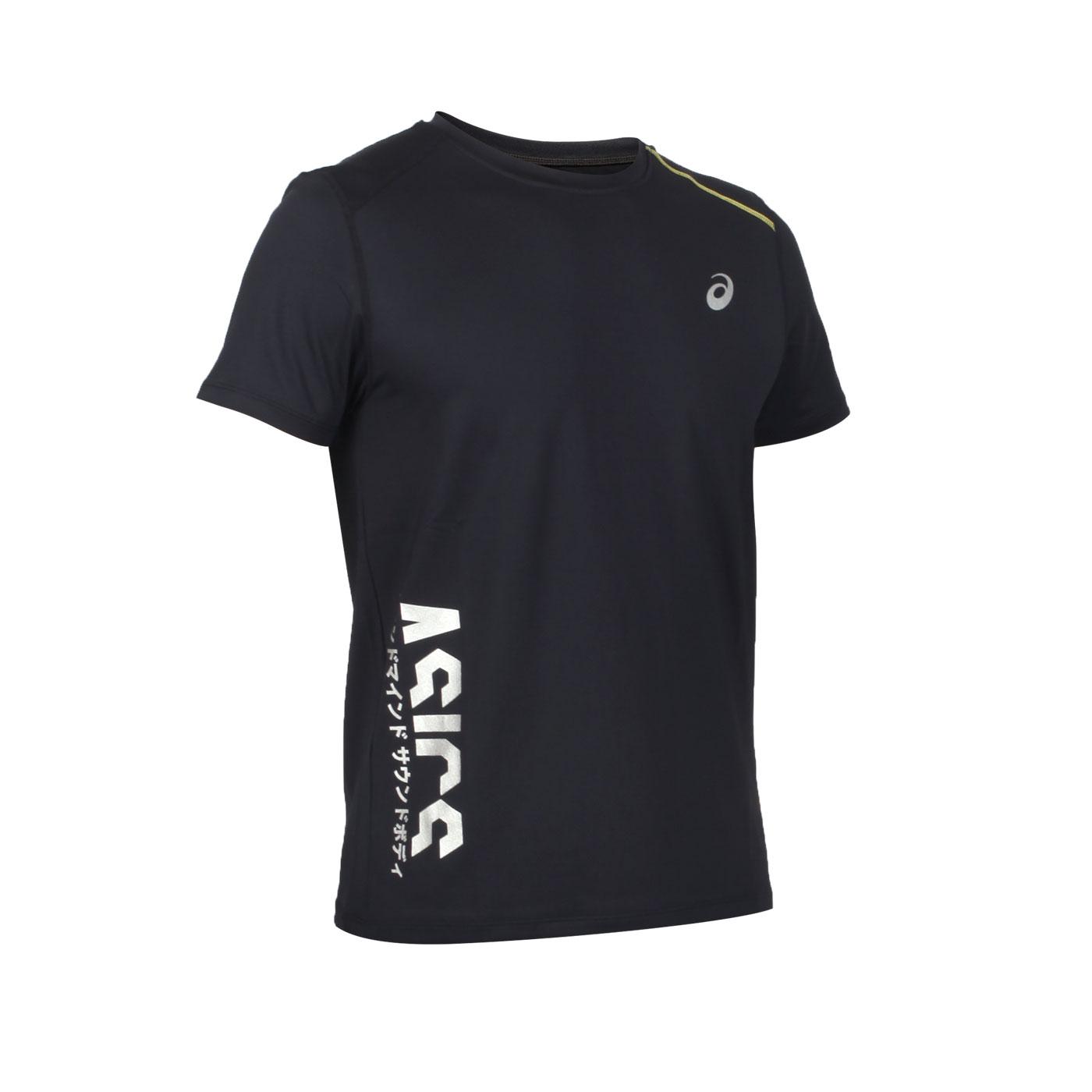 ASICS 男款短袖T恤 K32002-43 - 黑銀