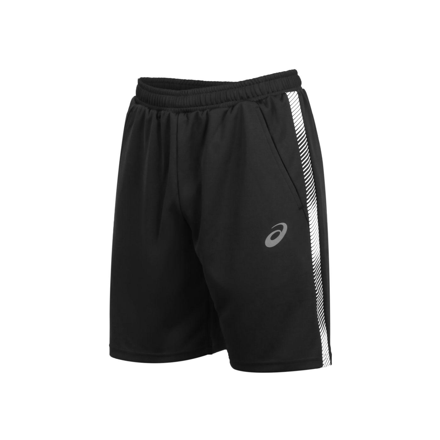 ASICS 男款針織運動短褲 K32036-50 - 黑白銀