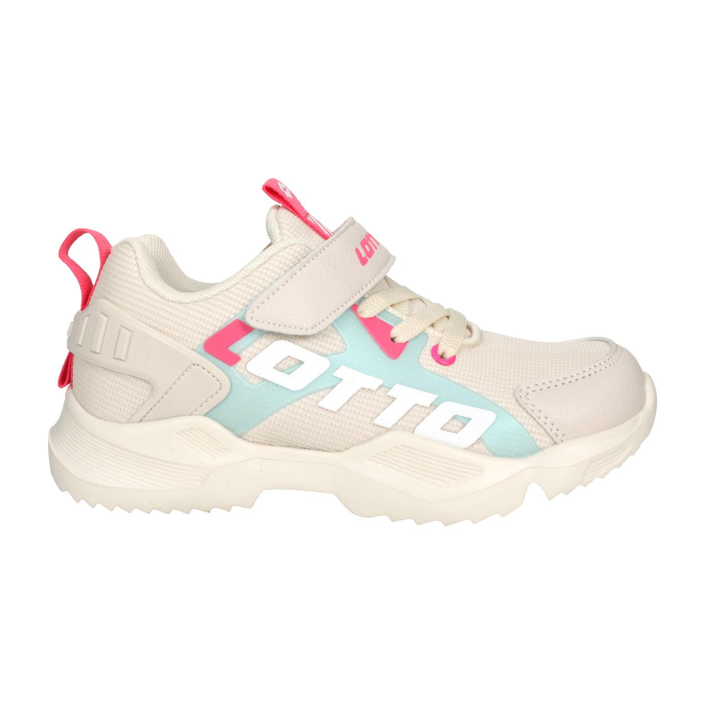 LOTTO 中童輕量慢跑鞋 LT0AKR1791 - 米白湖綠粉
