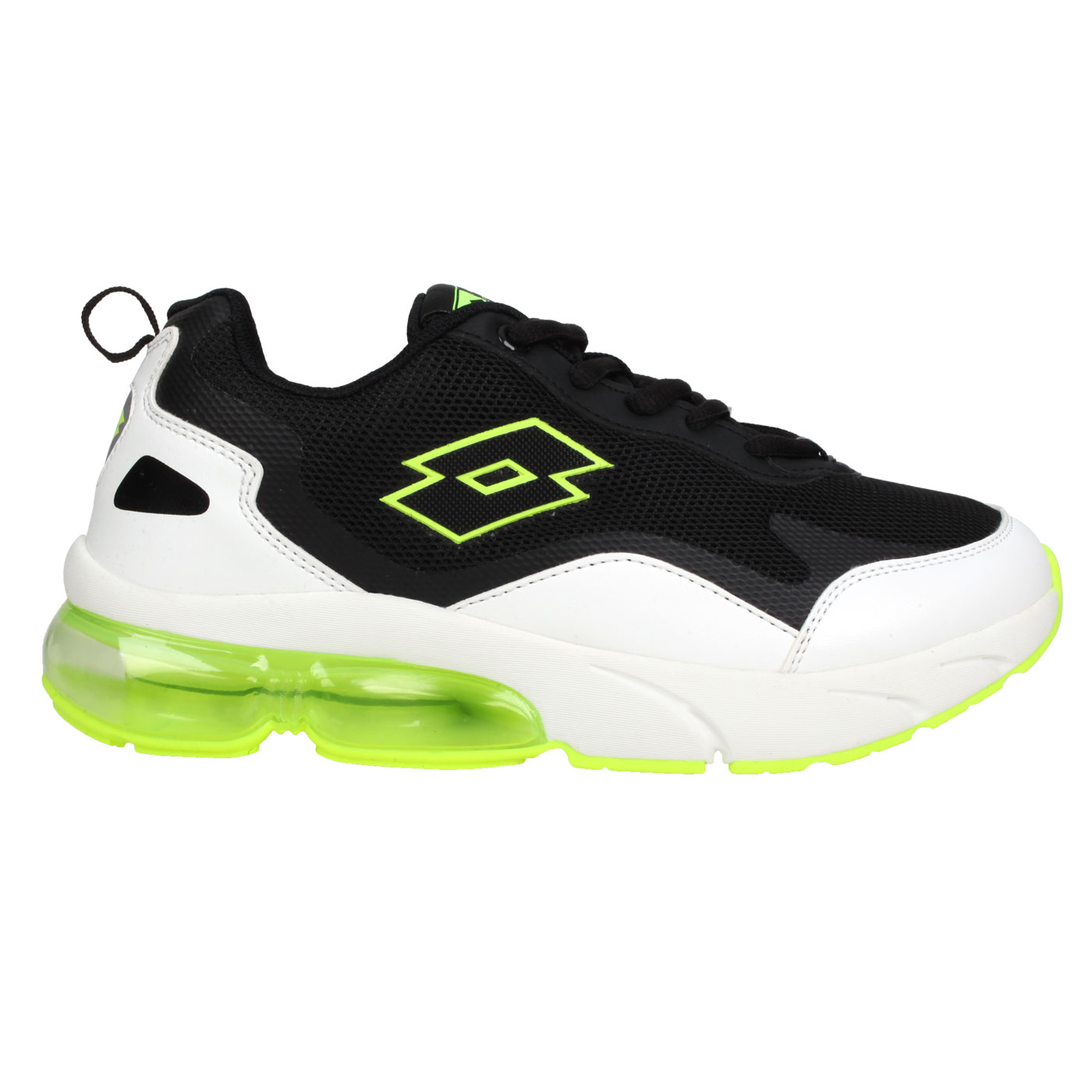 LOTTO 大童氣墊慢跑鞋 LT0AKR2205 - 白黑螢光綠