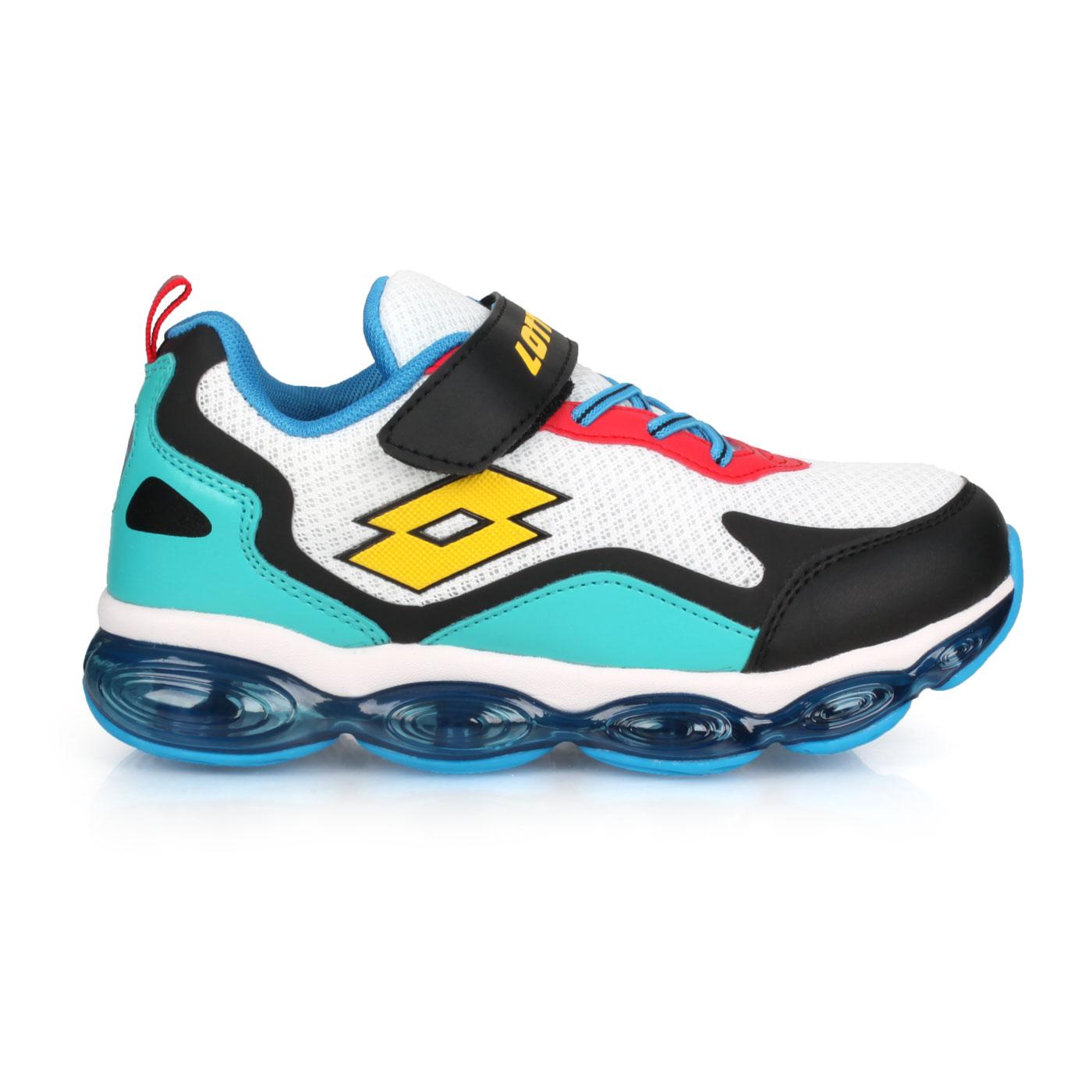 LOTTO 中童氣墊慢跑鞋 LT0AKR2218 - 白黑綠黃藍