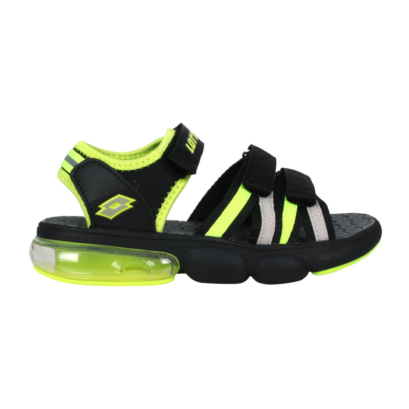 LOTTO 大童織帶氣墊涼鞋 LT1AKS3200 - 螢光黃黑