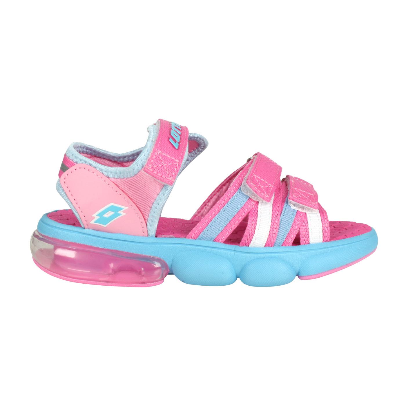 LOTTO 大童織帶氣墊涼鞋 LT1AKS3203 - 桃紅水藍