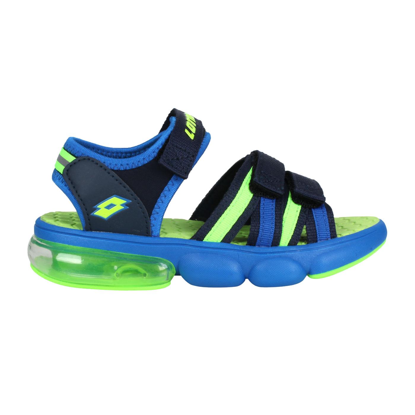 LOTTO 大童織帶氣墊涼鞋 LT1AKS3206 - 螢光綠藍