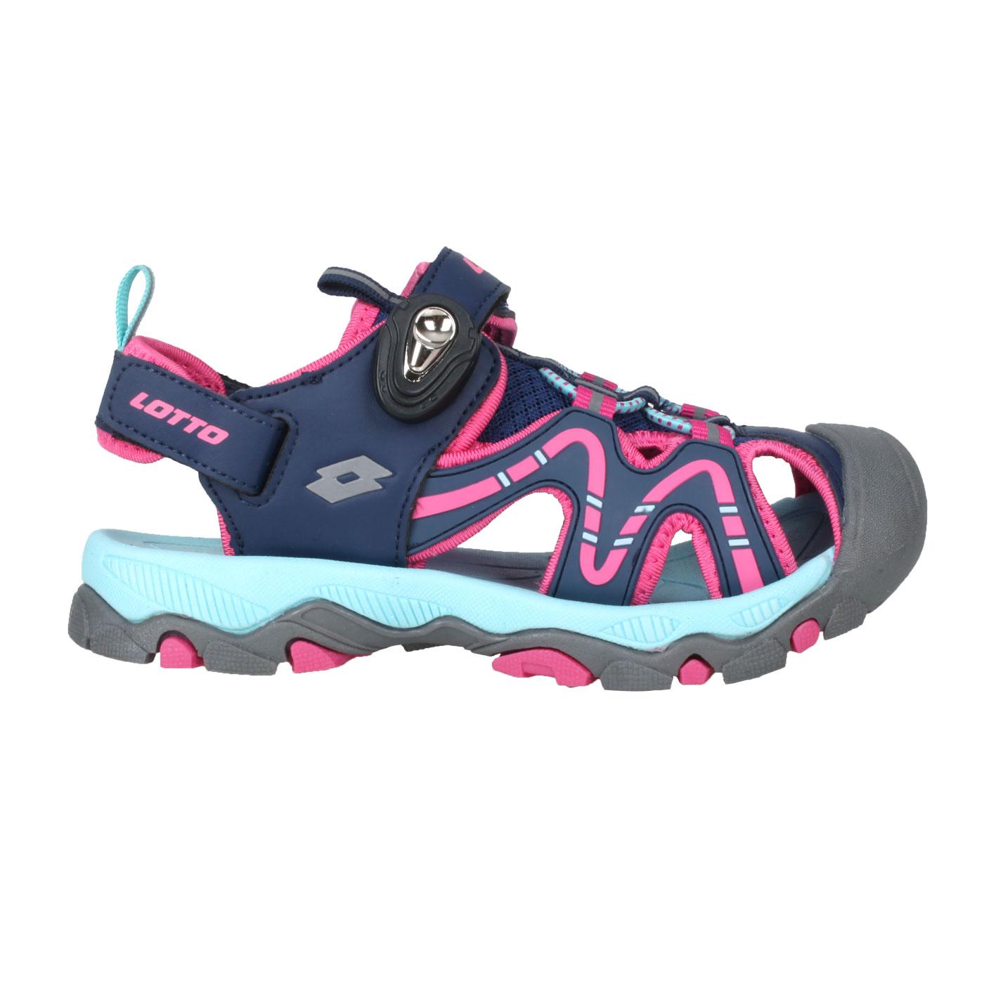 LOTTO 大童磁扣護趾涼鞋 LT1AKS3383 - 藍桃紅水藍