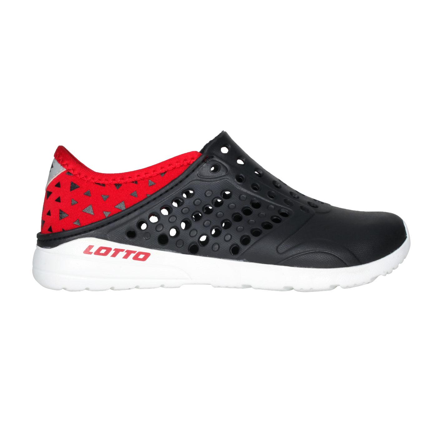 LOTTO 中童時尚洞洞鞋 LT1AKS3630 - 黑紅