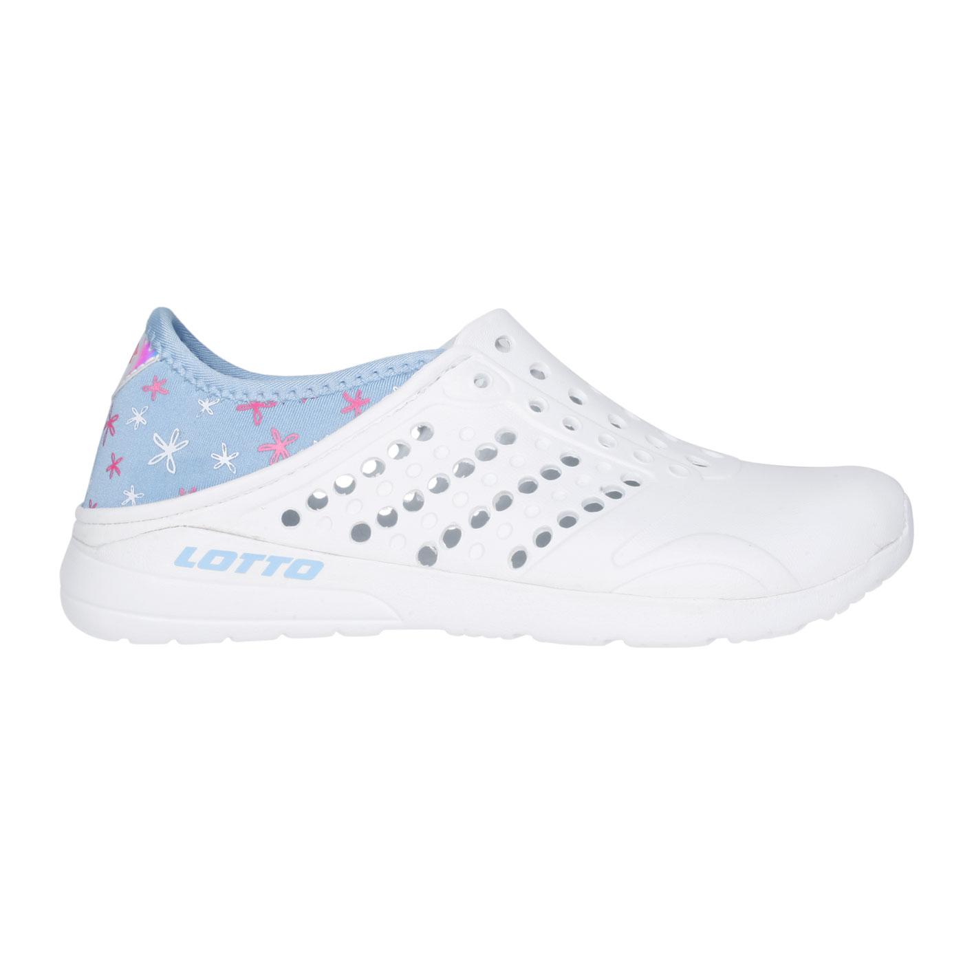 LOTTO 中童時尚洞洞鞋 LT1AKS3636 - 白水藍