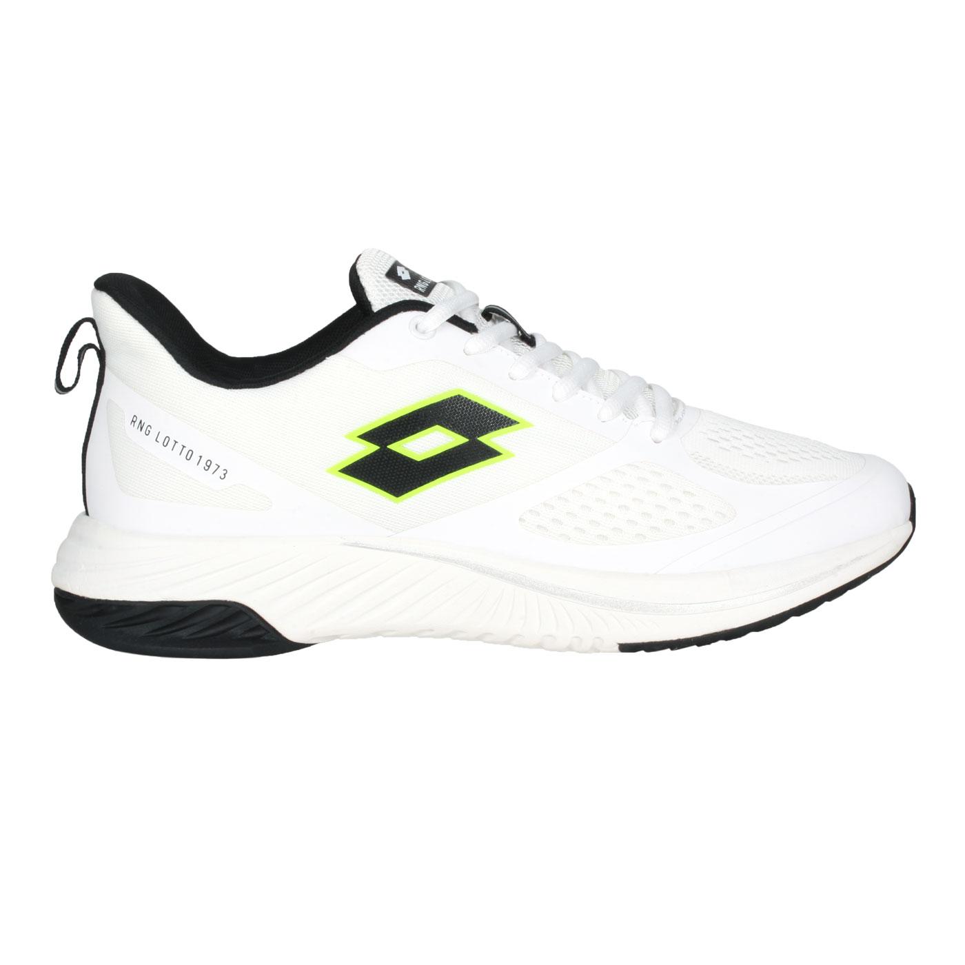 LOTTO 男款避震跑鞋 LT1AMR3559 - 白黑螢光綠