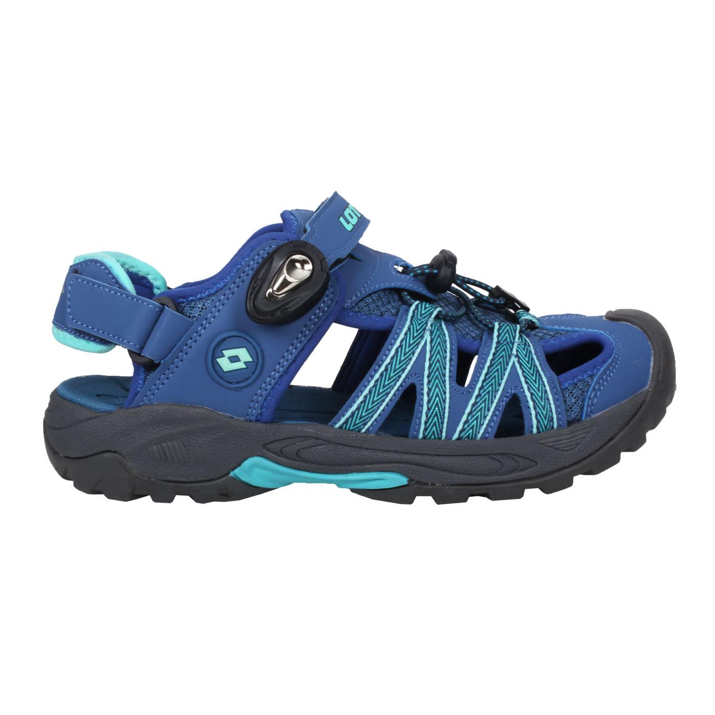 LOTTO 緹花磁扣護趾涼鞋 LT1AWS3266 - 藍綠