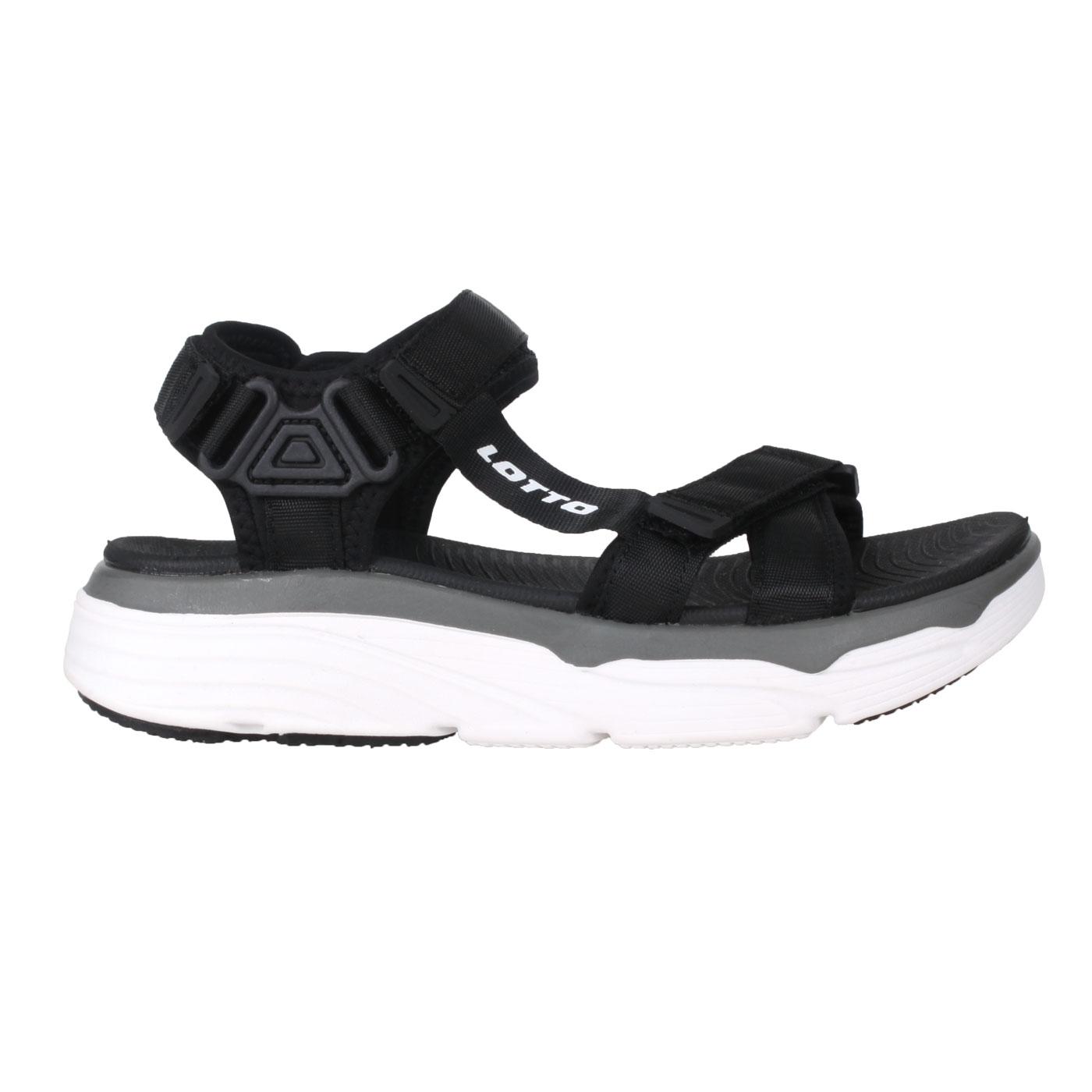 LOTTO 女款美型厚底涼鞋 LT1AWS3290 - 黑灰白