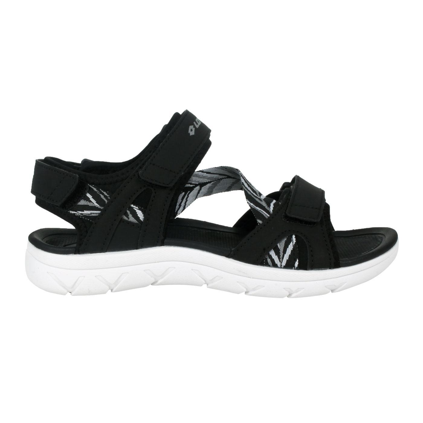 LOTTO 女款圖紋織帶涼鞋 LT1AWS3360 - 黑白