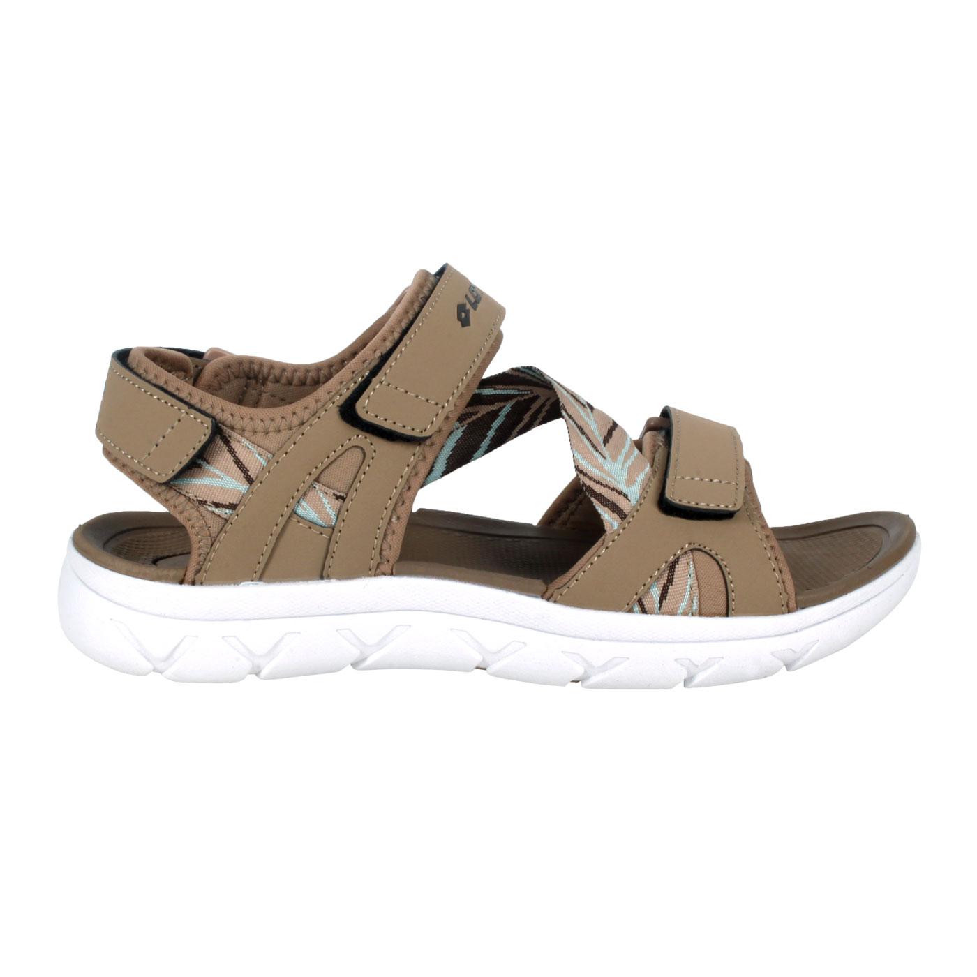 LOTTO 女款圖紋織帶涼鞋 LT1AWS3361 - 淺棕深咖啡