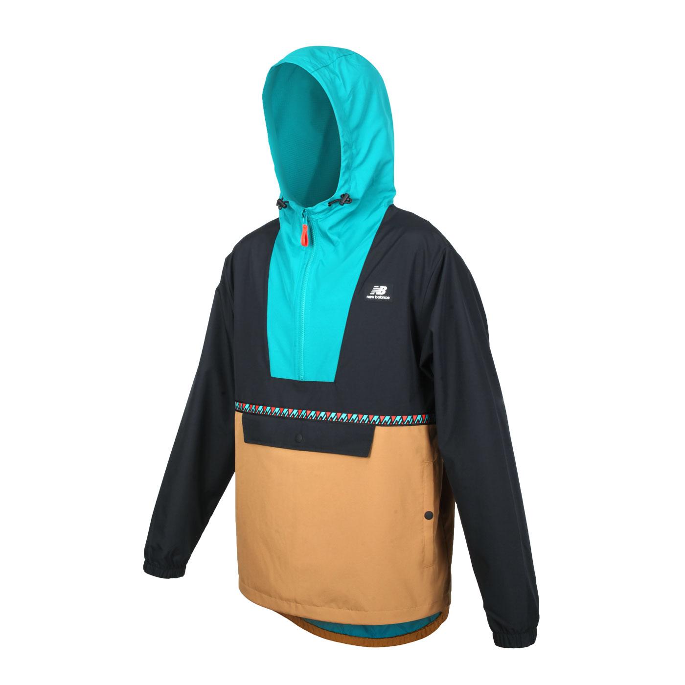 NEW BALANCE 男款拉鍊式長袖連帽防風T恤 MJ03560WWK - 綠黑土黃
