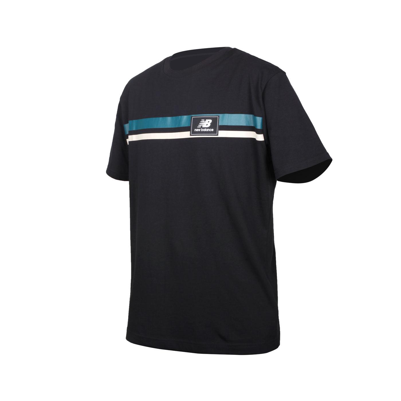 NEW BALANCE 男款短袖T恤 MT13501BK - 黑綠灰
