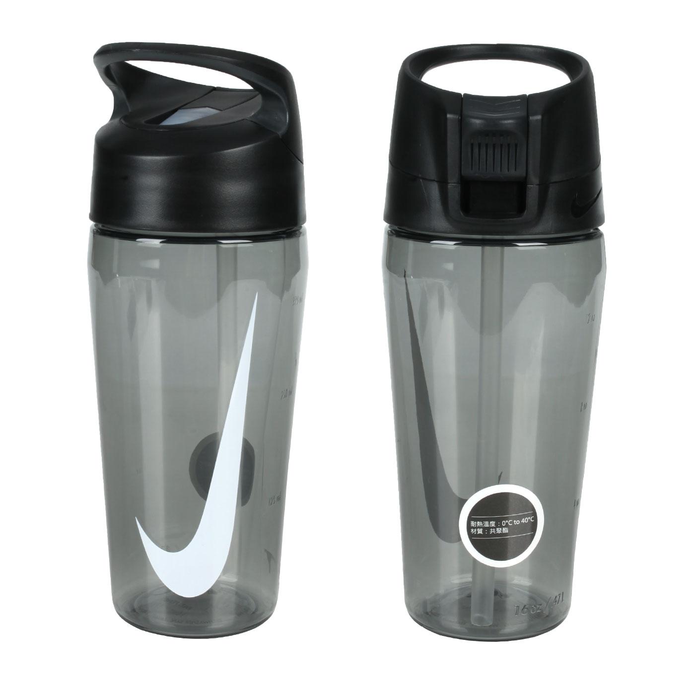 NIKE 16OZ 吸管水壺 N100078502516 - 透明黑白