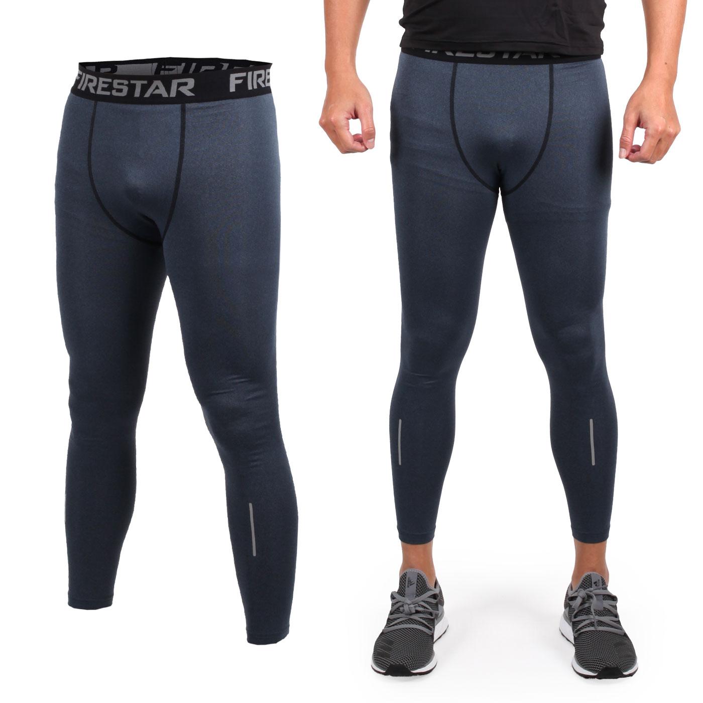 FIRESTAR 男款機能緊身長褲  N7903-18 - 深麻灰黑